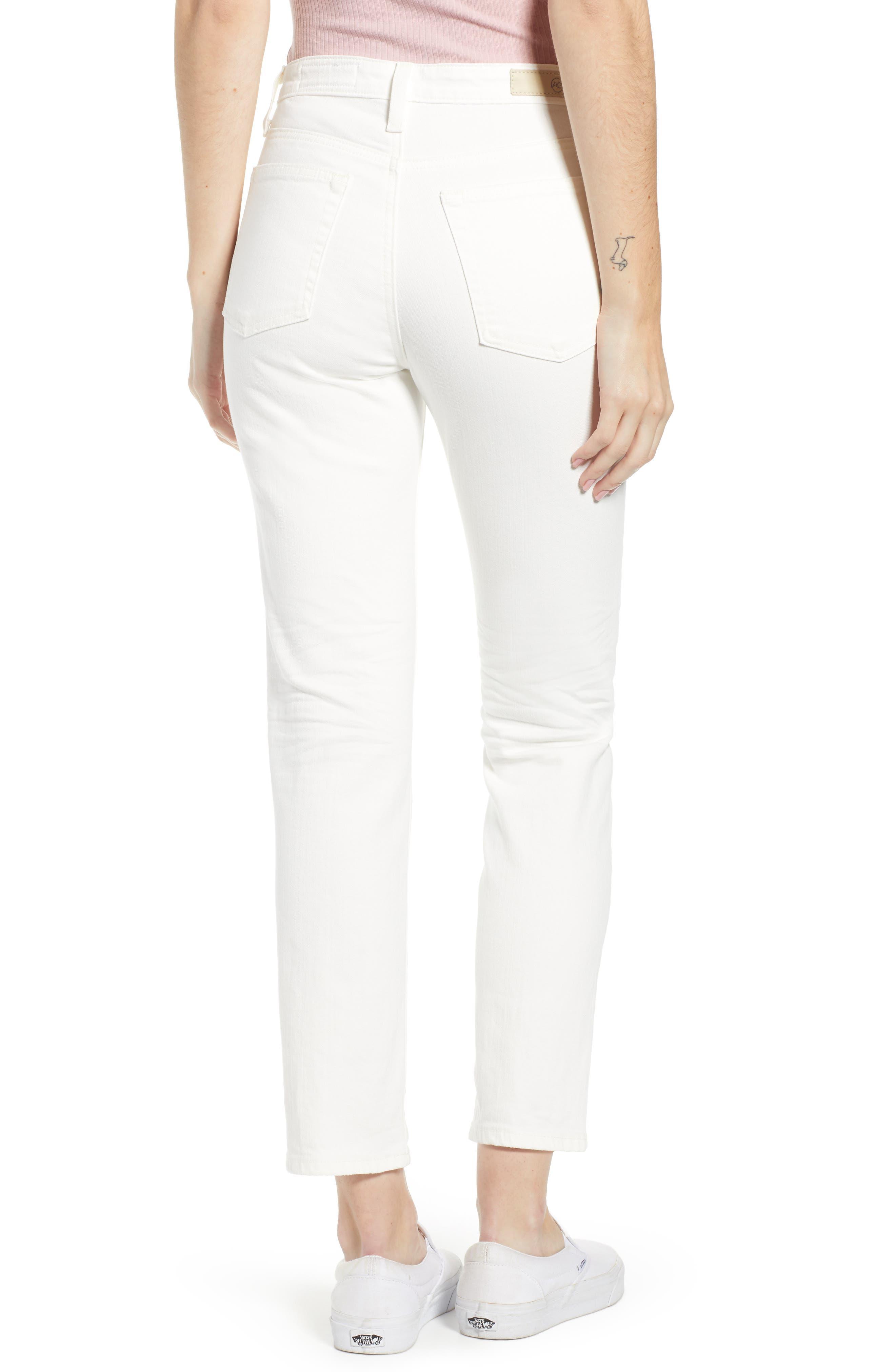 AG,                             The Isabelle High Waist Crop Straight Leg Jeans,                             Alternate thumbnail 2, color,                             01 YEAR TONAL WHITE