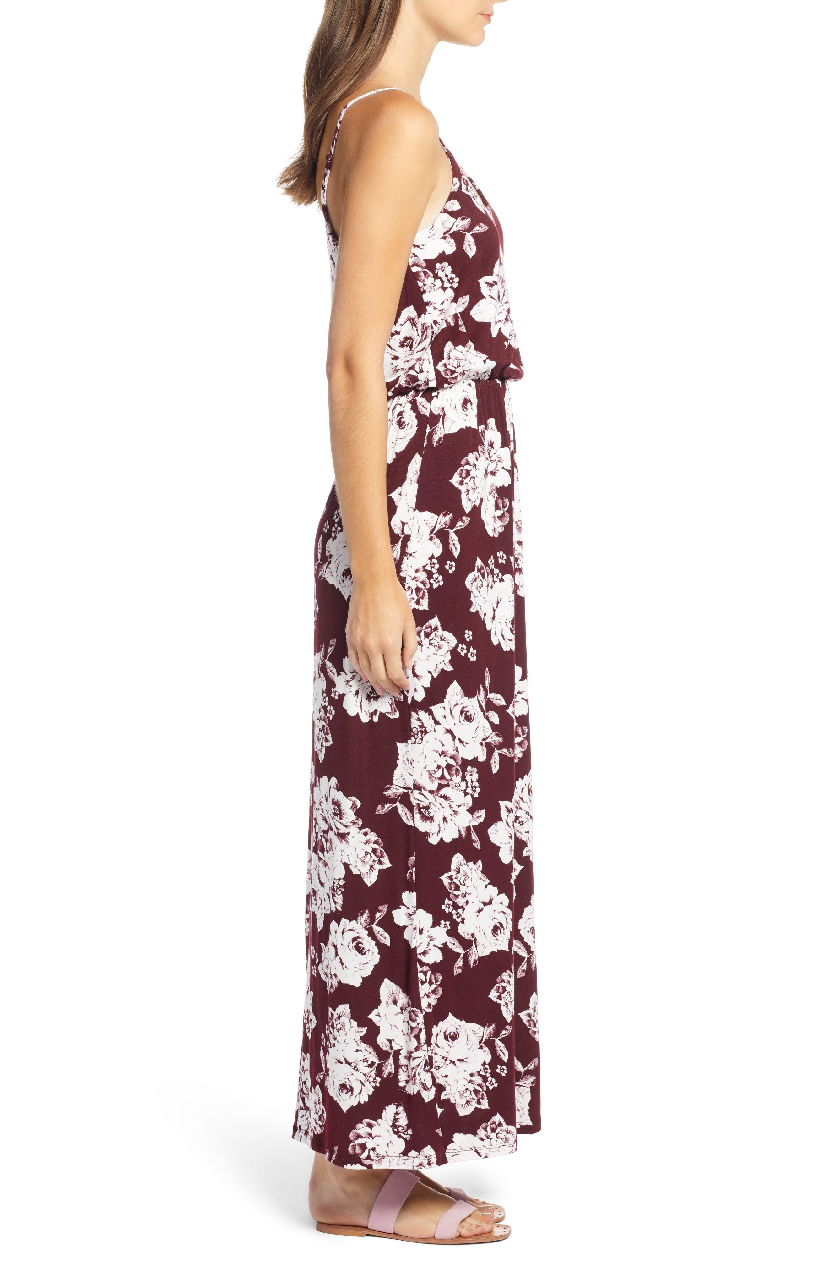 Knit Maxi Dress,                             Alternate thumbnail 3, color,                             BURGUNDY FLORAL