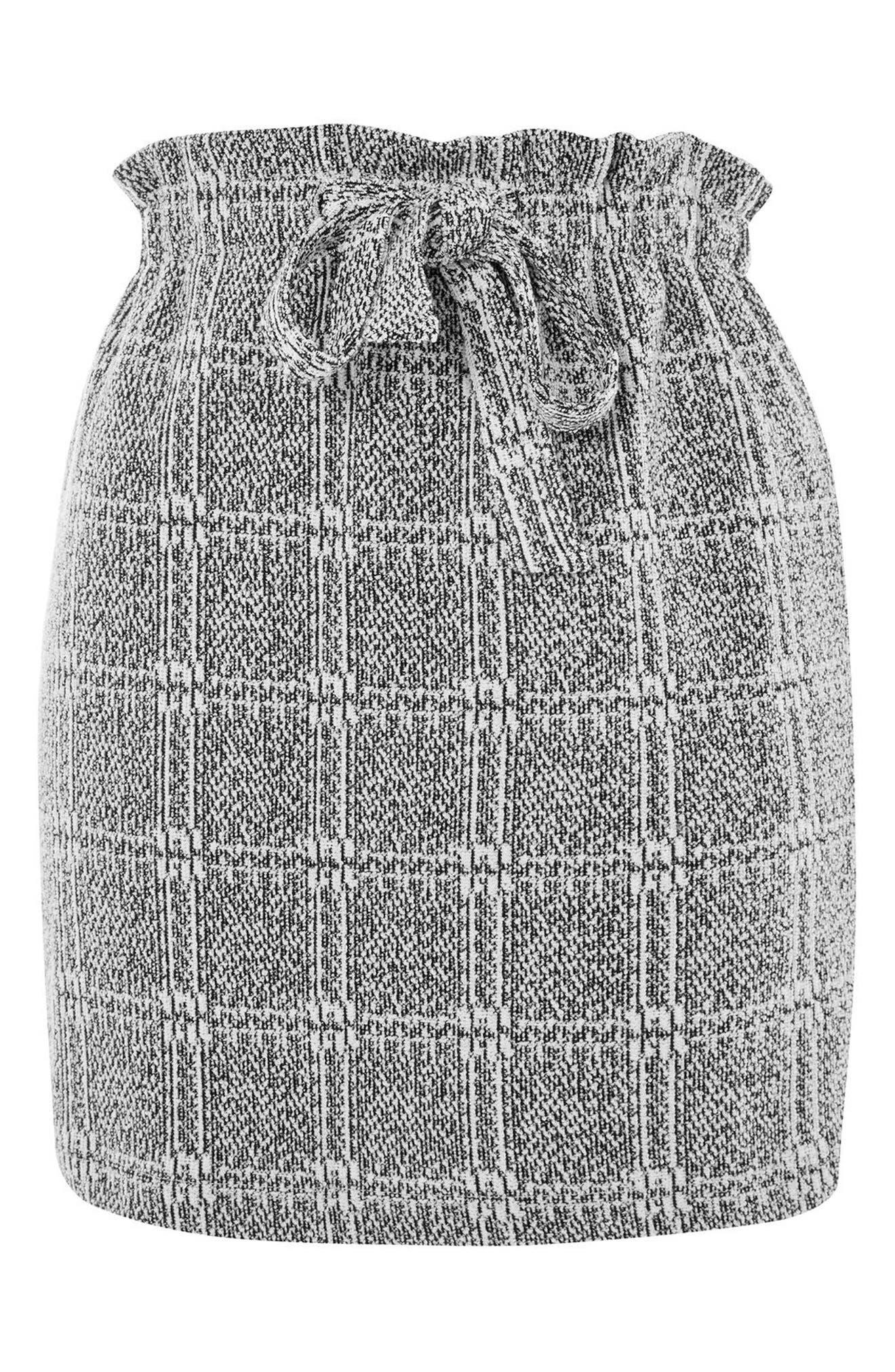 Paperbag Waist Checkered Skirt,                             Alternate thumbnail 3, color,                             020