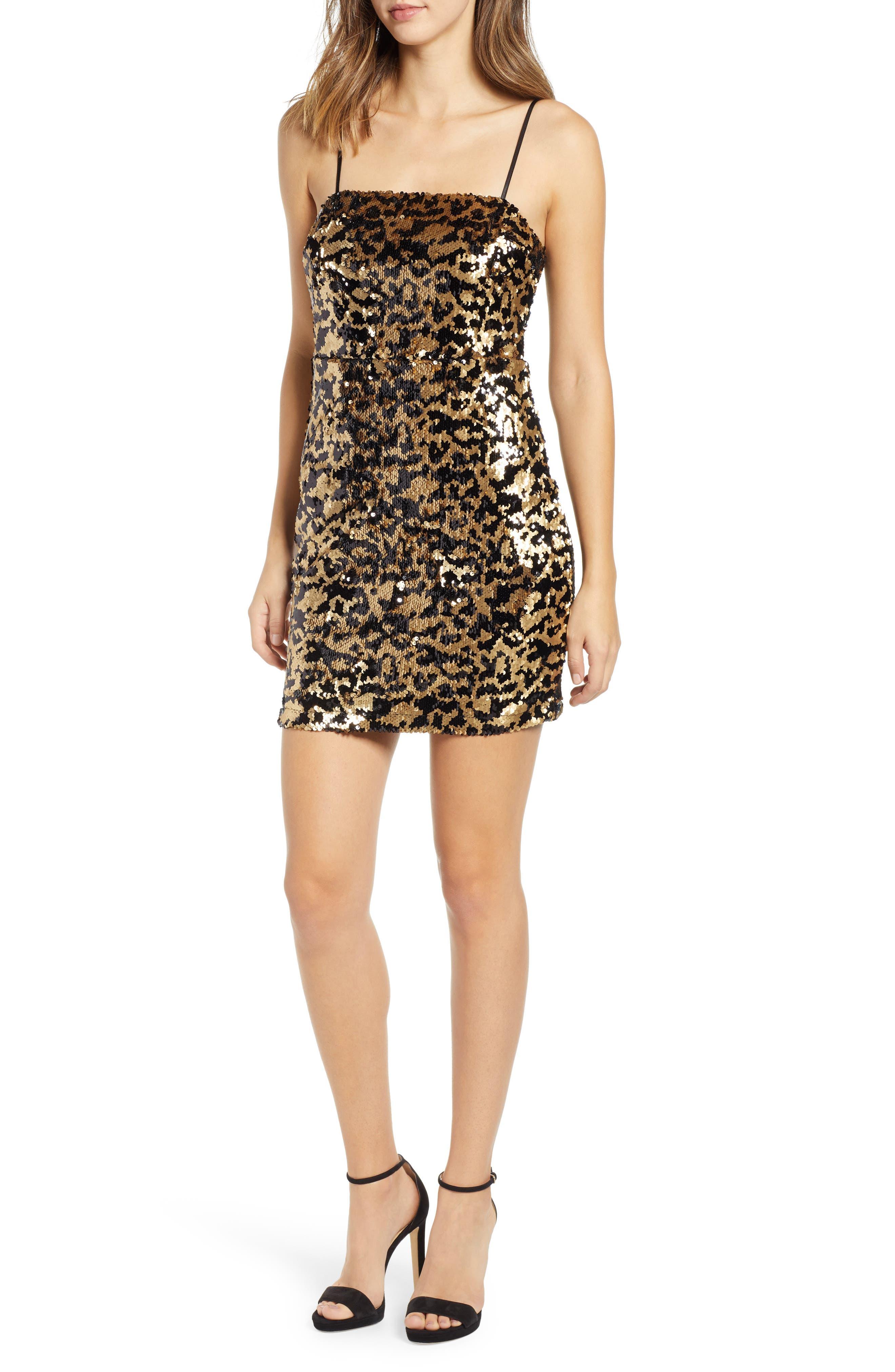 Leopard Sequin Dress,                             Main thumbnail 1, color,                             BLACK MULTI