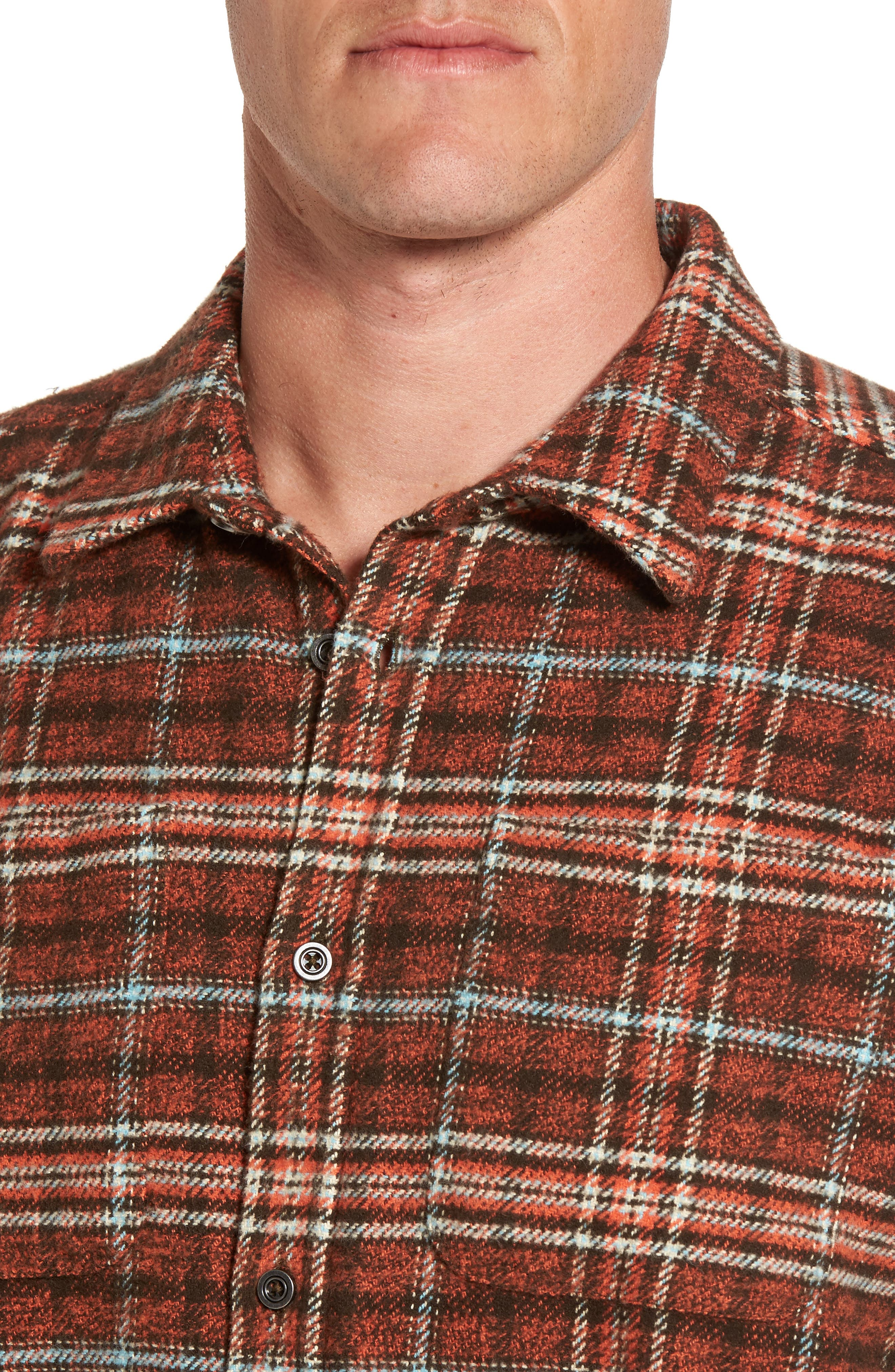 Brayden Regular Fit Plaid Flannel Shirt,                             Alternate thumbnail 8, color,