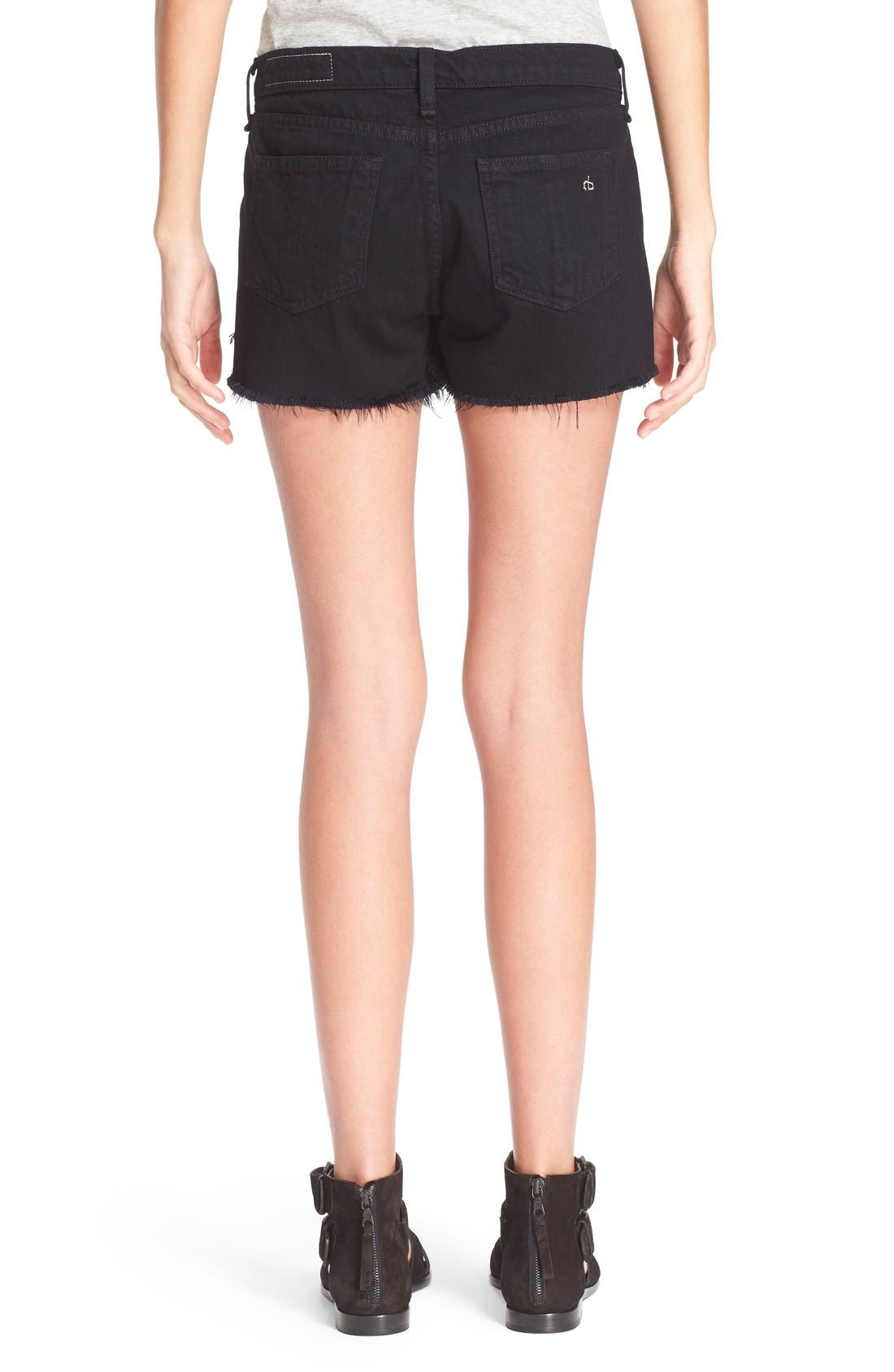 Cutoff Denim Shorts,                             Alternate thumbnail 3, color,                             001
