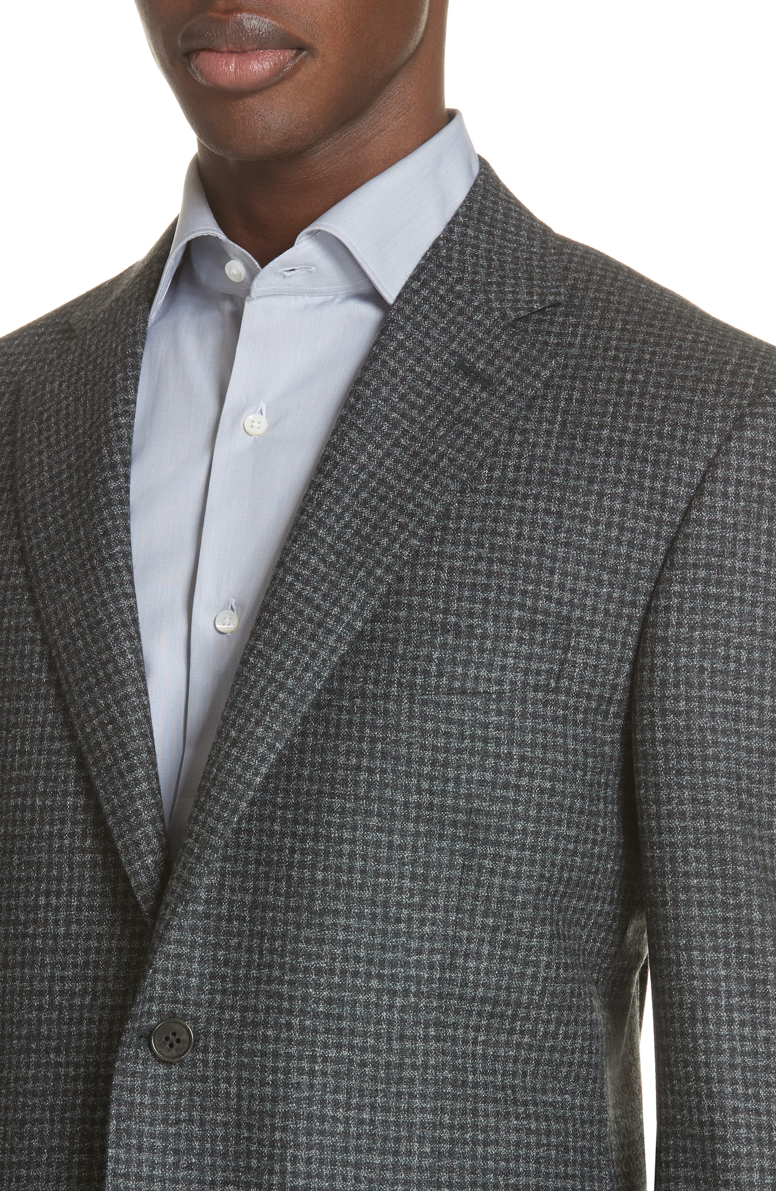 Classic Fit Check Wool Sport Coat,                             Alternate thumbnail 4, color,                             DARK GREEN