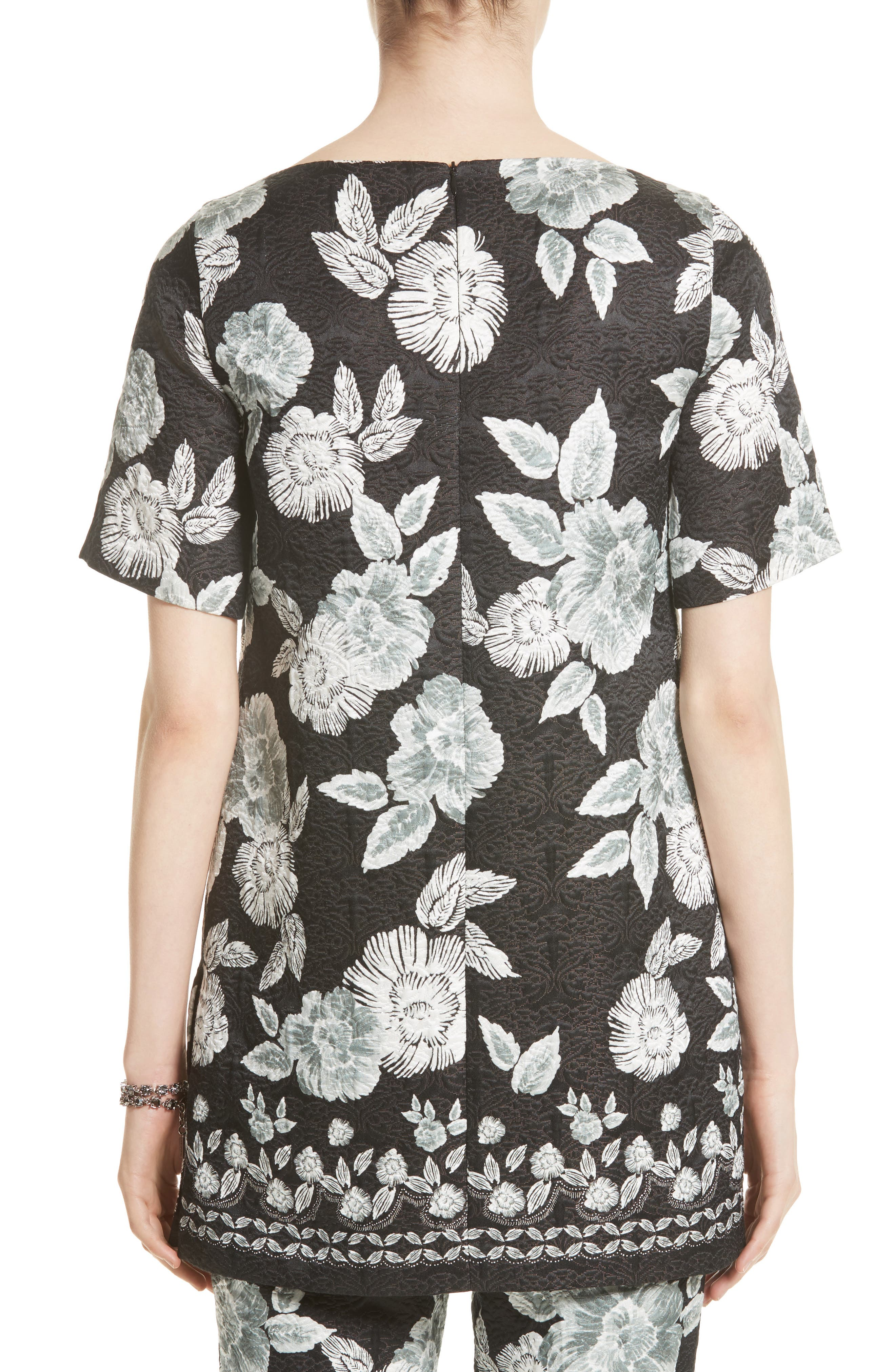 Textured Floral Print Tunic,                             Alternate thumbnail 2, color,                             001