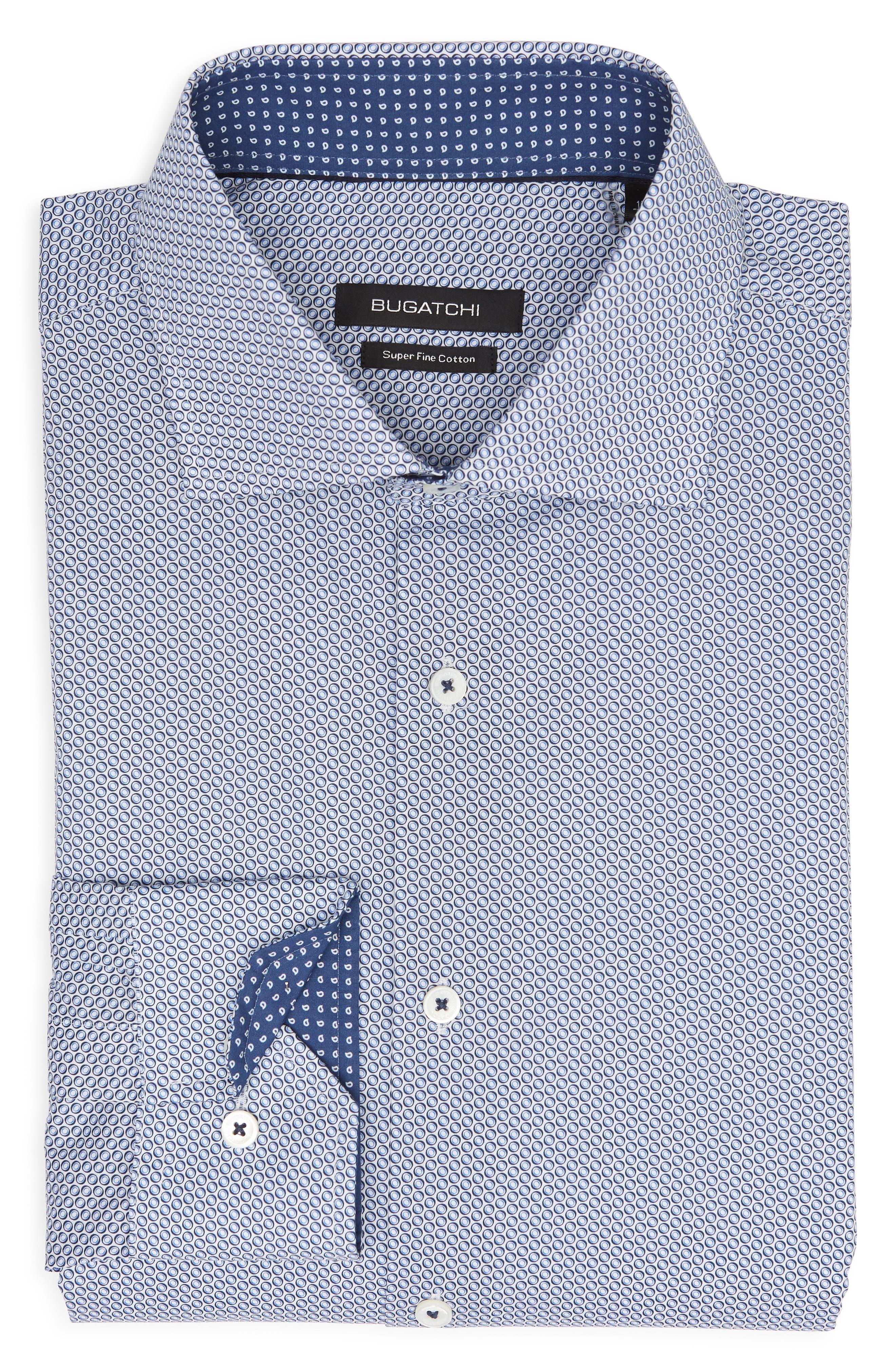 Trim Fit Print Dress Shirt,                             Alternate thumbnail 5, color,                             BISCOTTI
