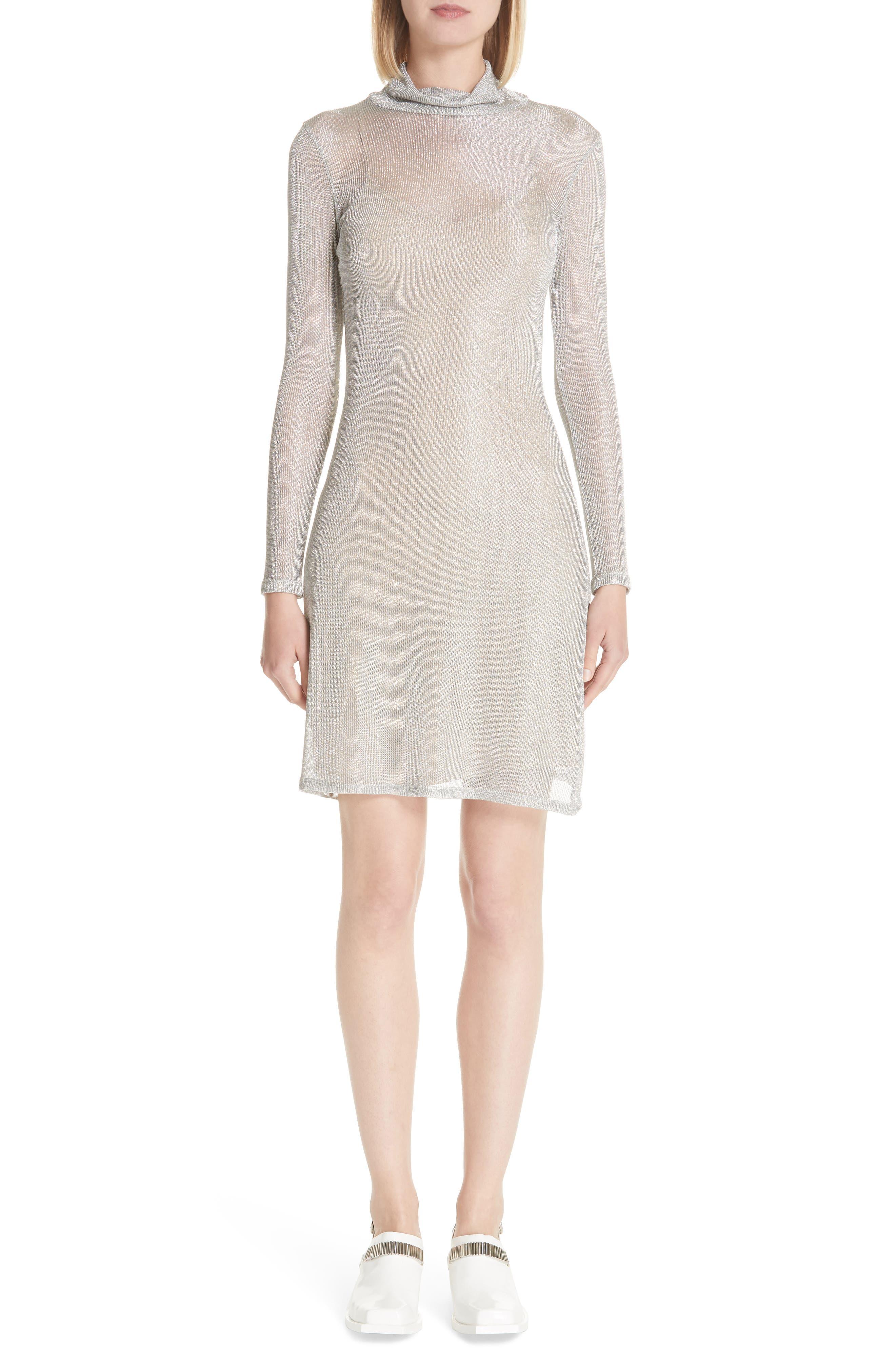 Metallic Rib Turtleneck Dress,                             Alternate thumbnail 6, color,                             SM - SILVER MESH