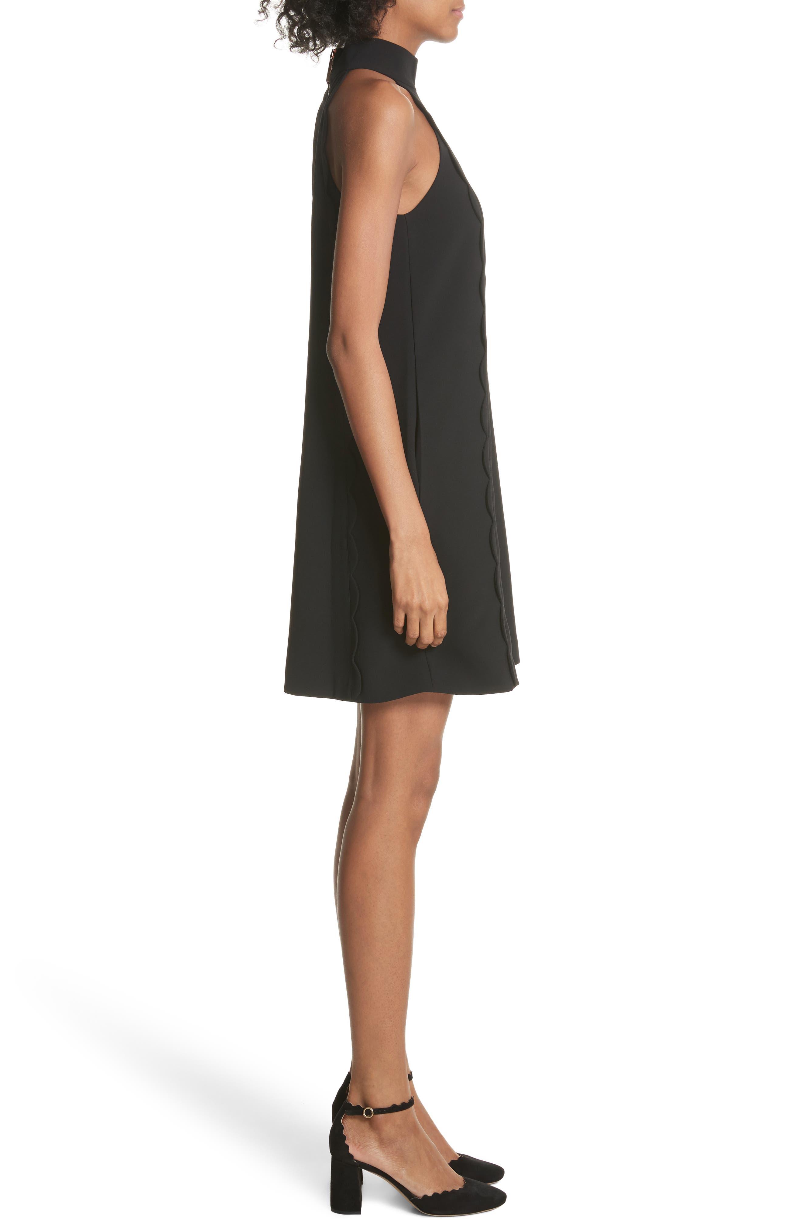 Torrii High Neck Tunic Dress,                             Alternate thumbnail 3, color,                             BLACK
