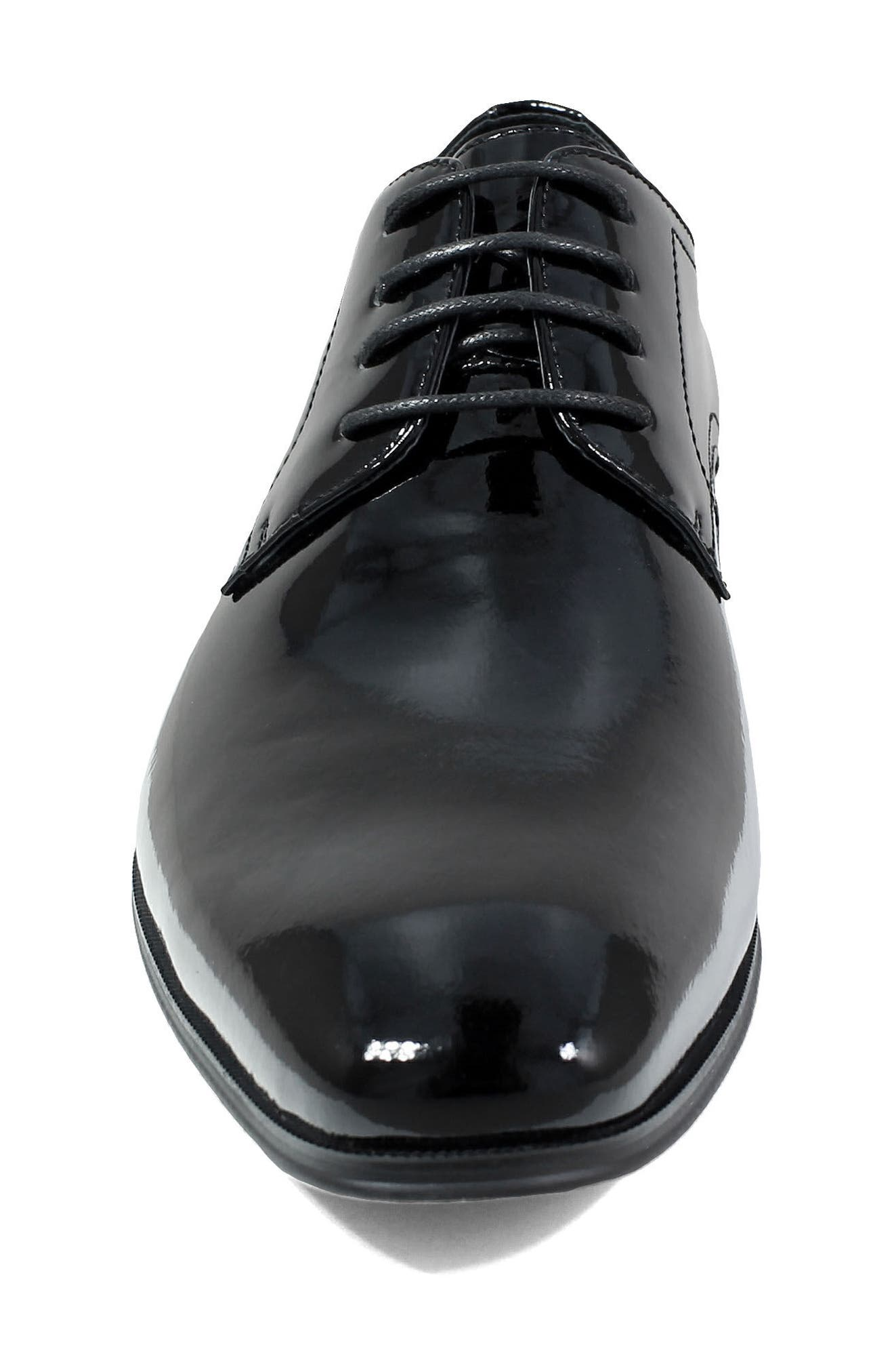 Tux Plain Toe Derby,                             Alternate thumbnail 4, color,                             BLACK PATENT LEATHER