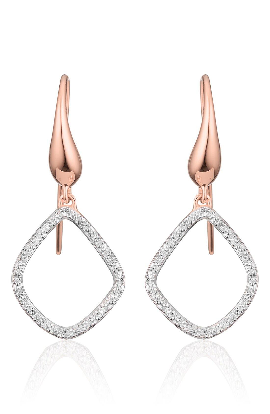 Riva Kite Diamond Drop Earrings,                             Main thumbnail 1, color,                             ROSE GOLD