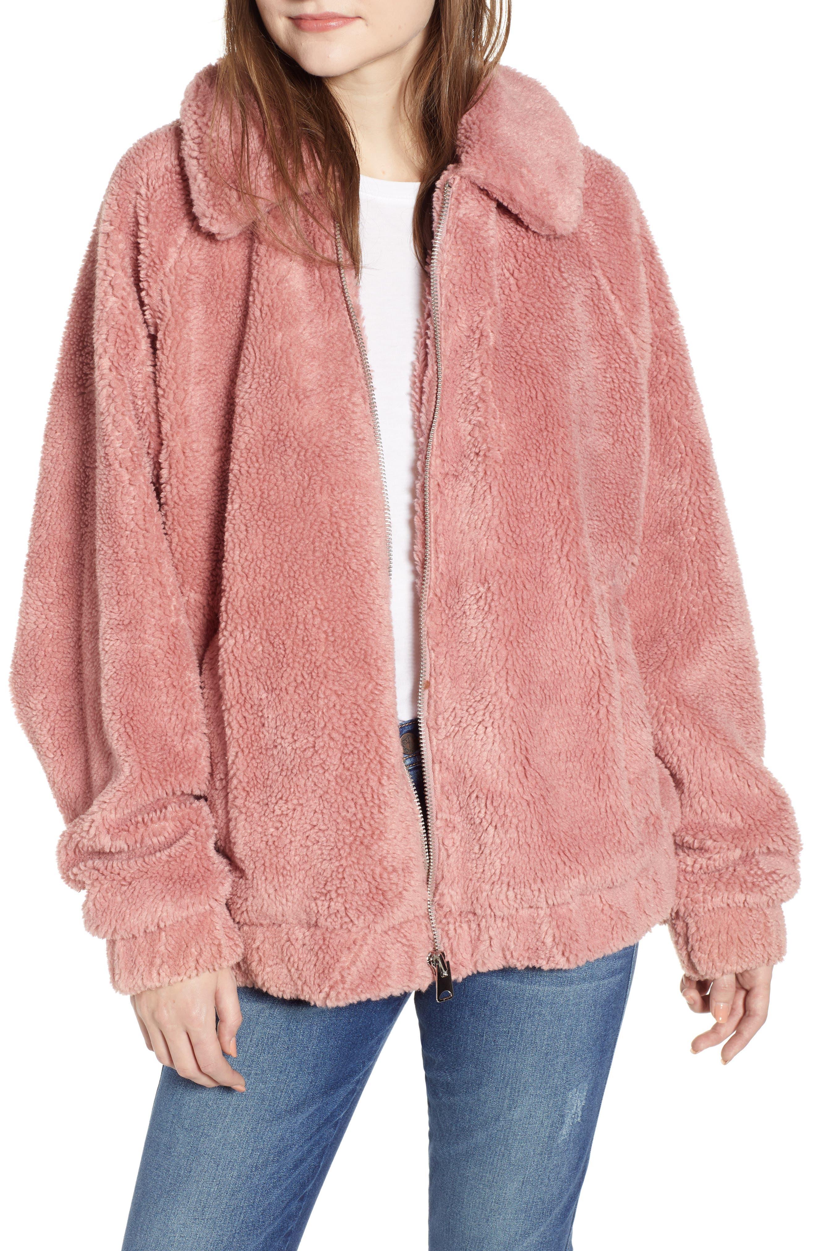 Bdg Urban Outfitters Batwing Teddy Fleece Jacket, Pink
