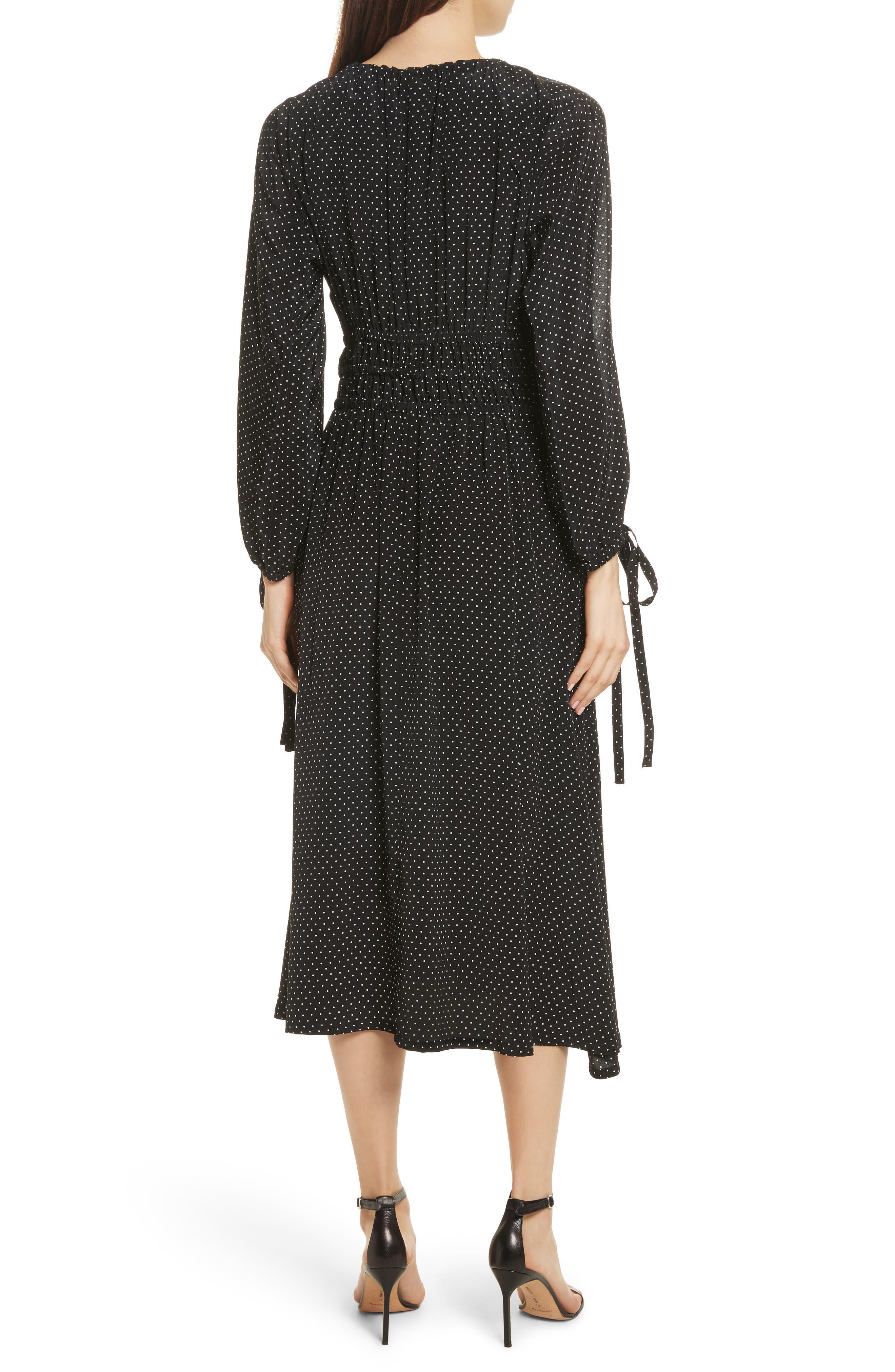 Polka Dot Silk Cold Shoulder Dress,                             Alternate thumbnail 2, color,                             001