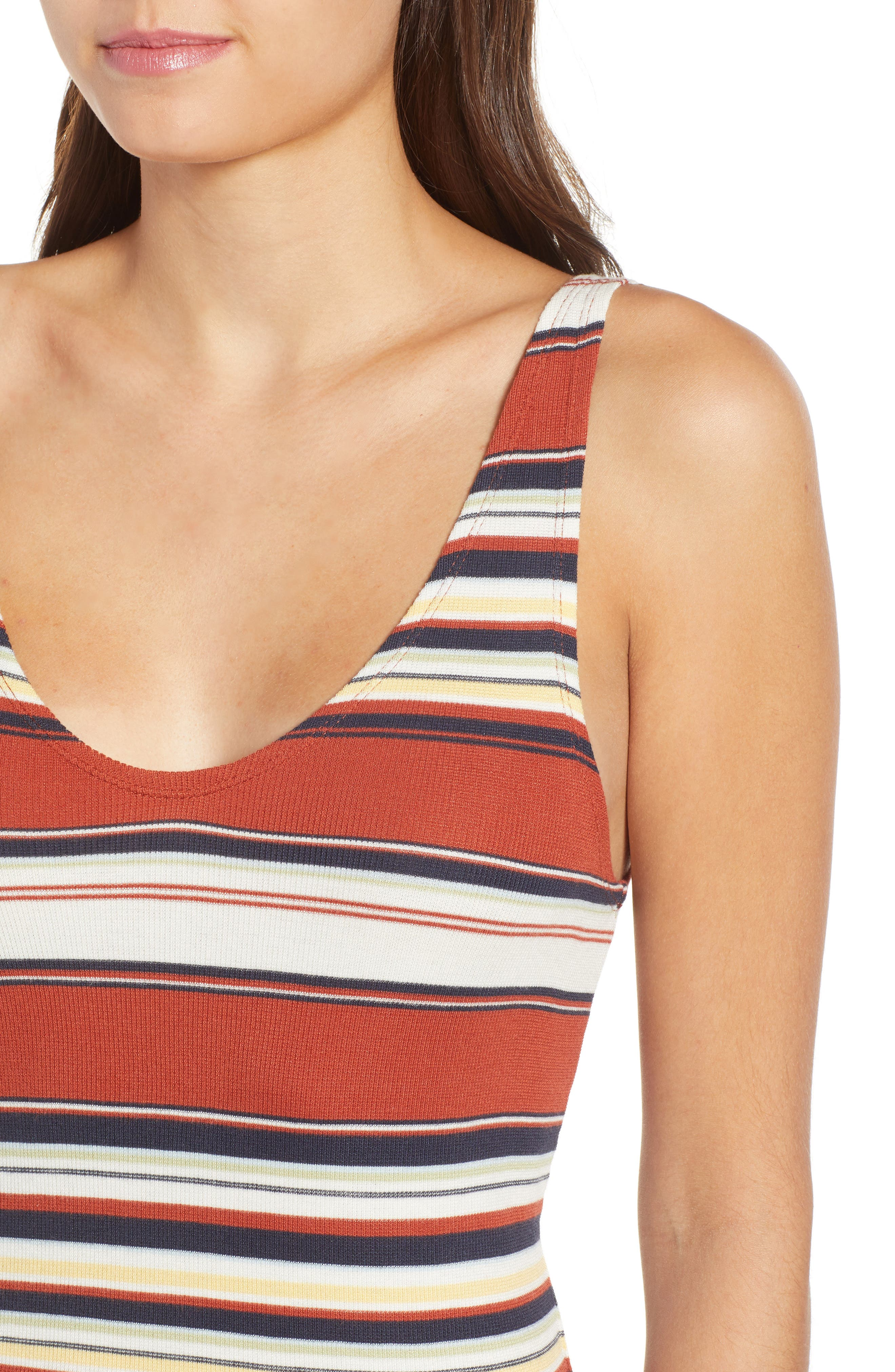 Homesick Stripe Ribbed Dress,                             Alternate thumbnail 4, color,