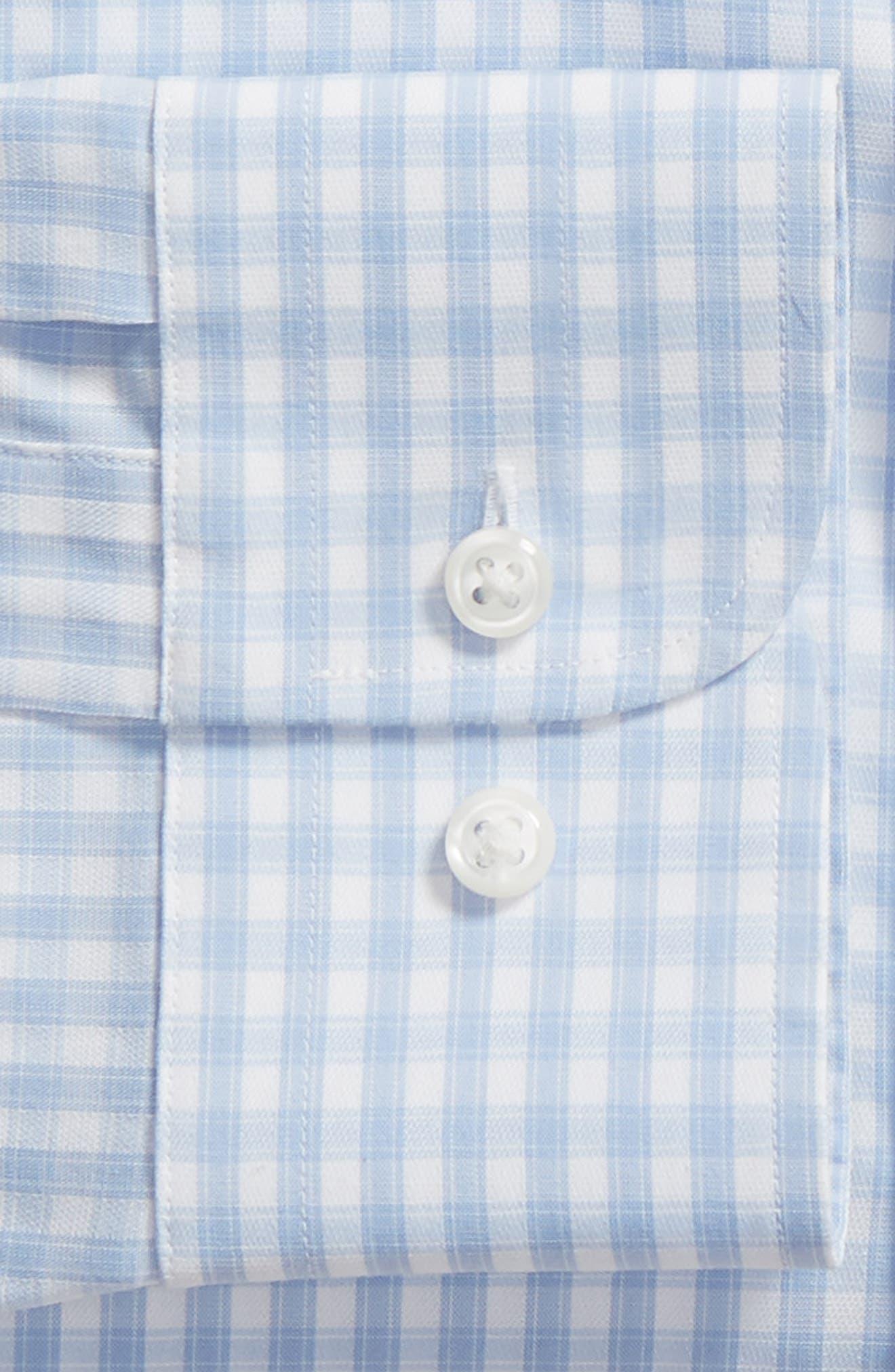 Tech-Smart Trim Fit Stretch Check Dress Shirt,                             Alternate thumbnail 6, color,                             BLUE BRUNNERA