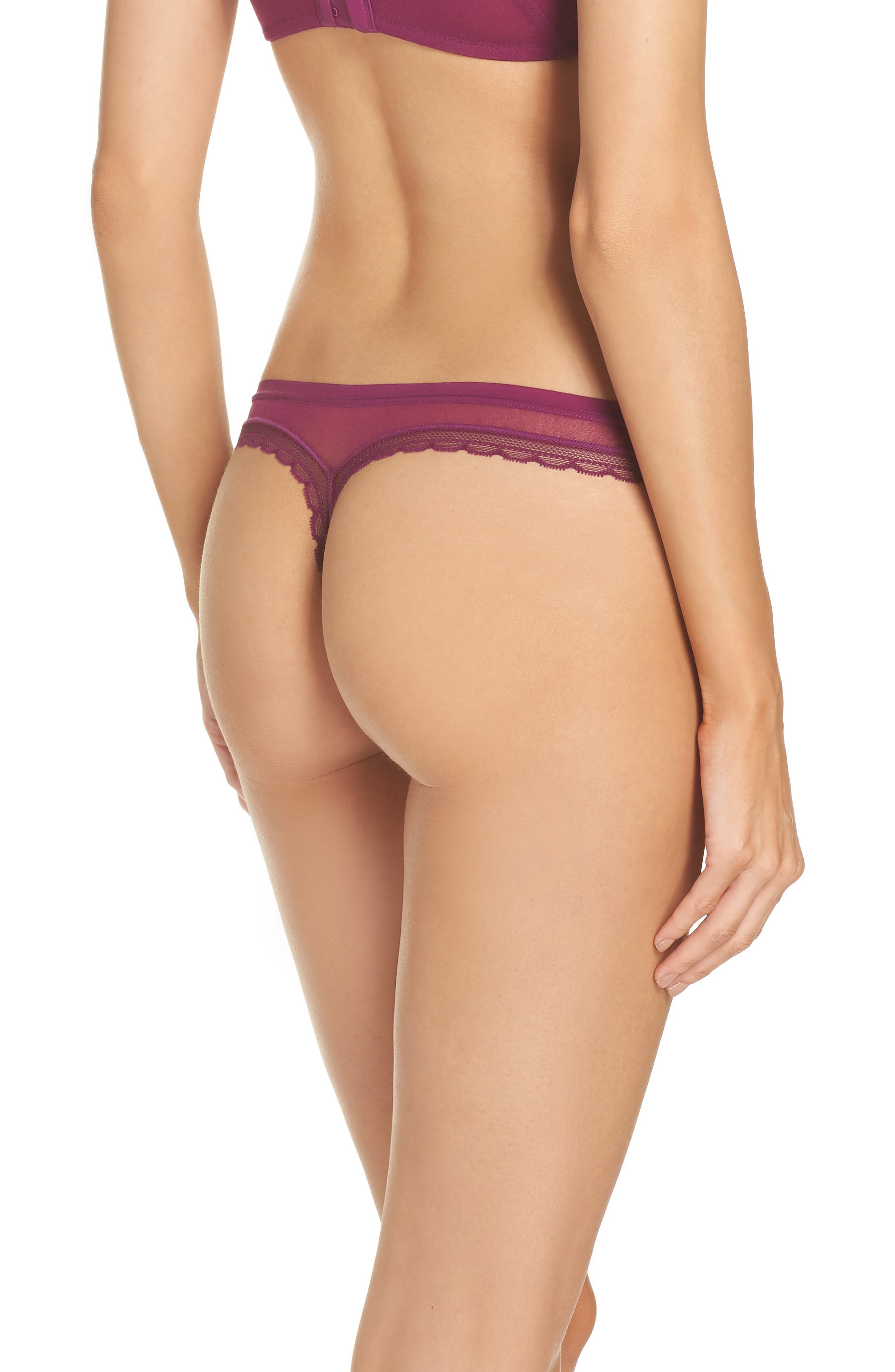 Hip G Thong,                             Alternate thumbnail 2, color,                             PLUM WINE