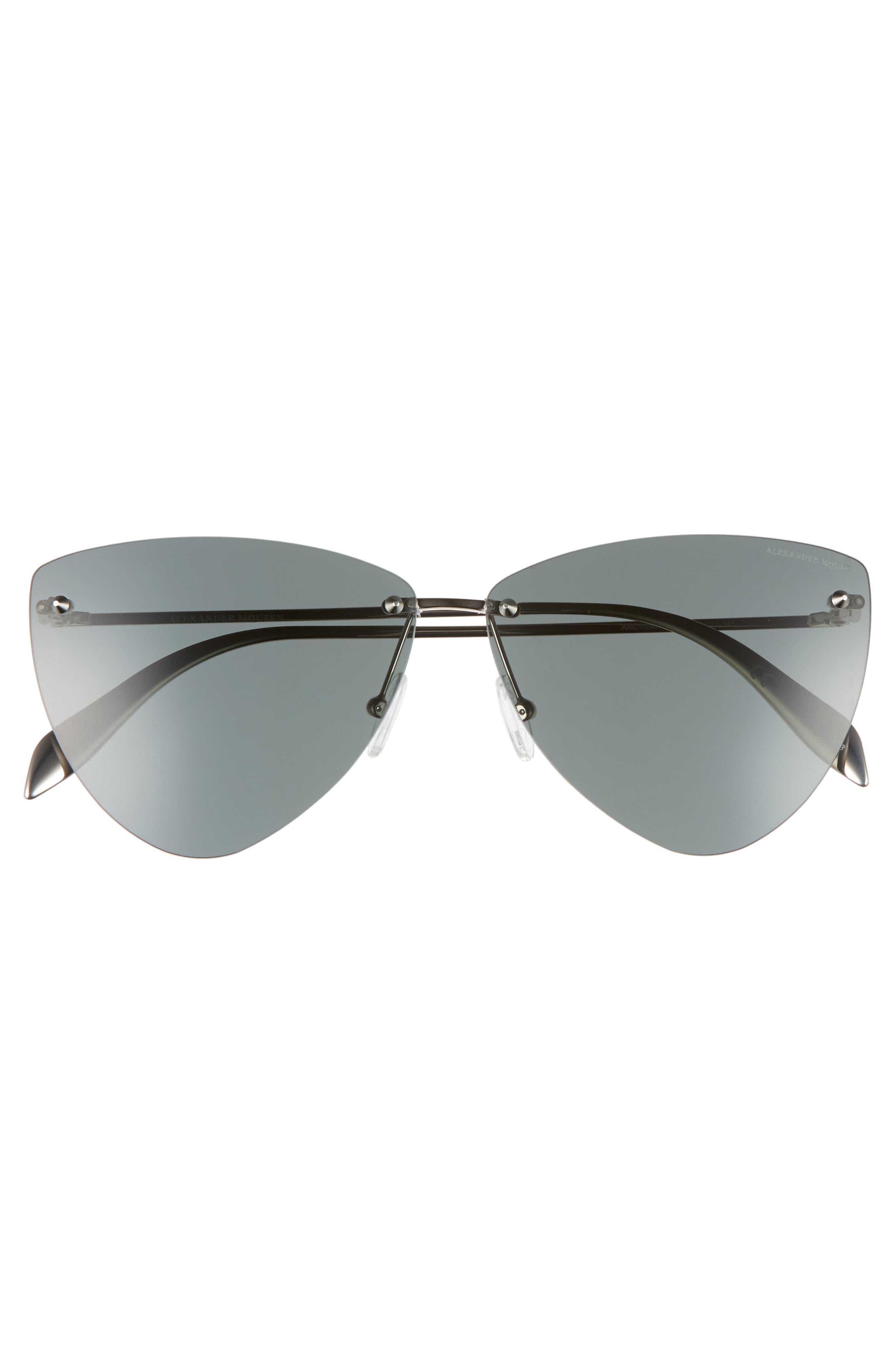 63mm Oversize Rimless Sunglasses,                             Alternate thumbnail 3, color,                             SILVER
