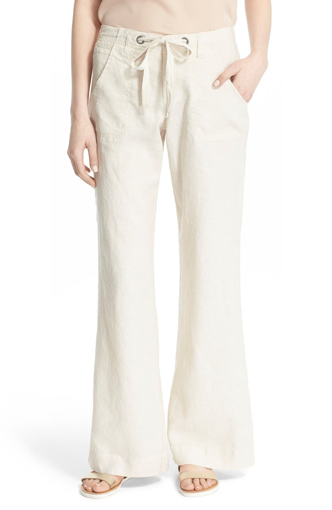Wide Leg Linen Pants,                             Main thumbnail 4, color,