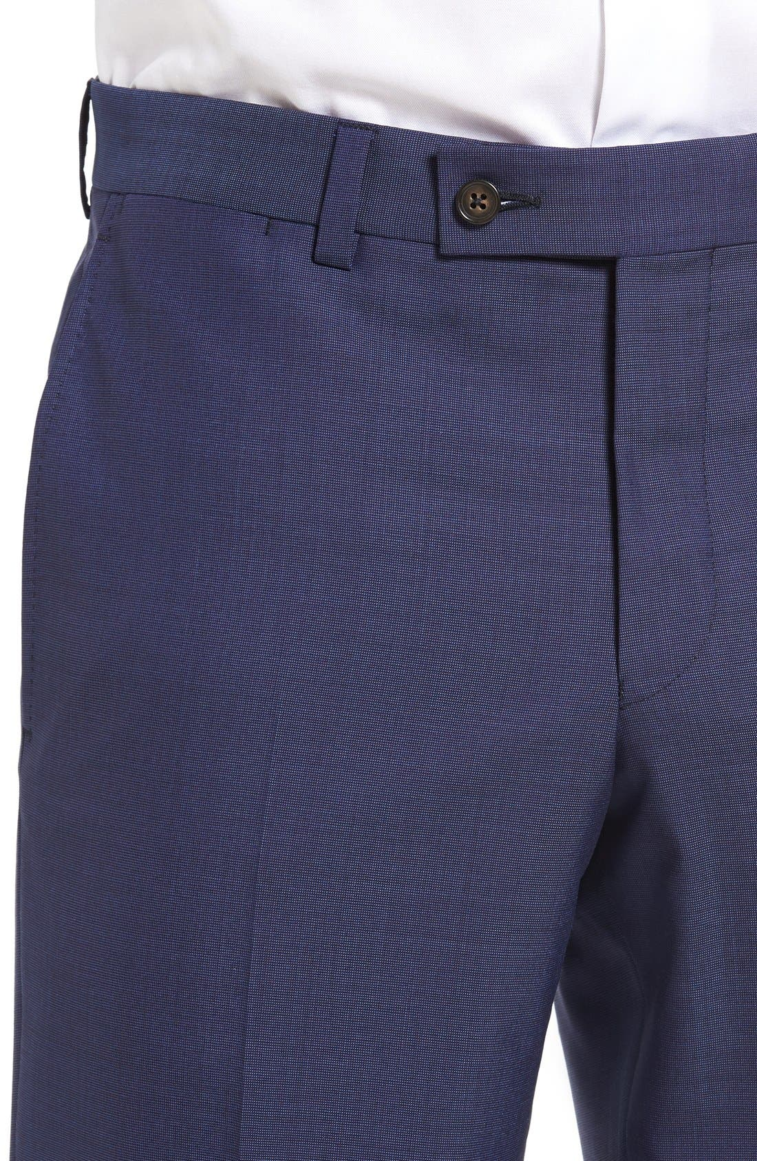 Jefferson Flat Front Solid Wool Trousers,                             Alternate thumbnail 10, color,                             BLUE