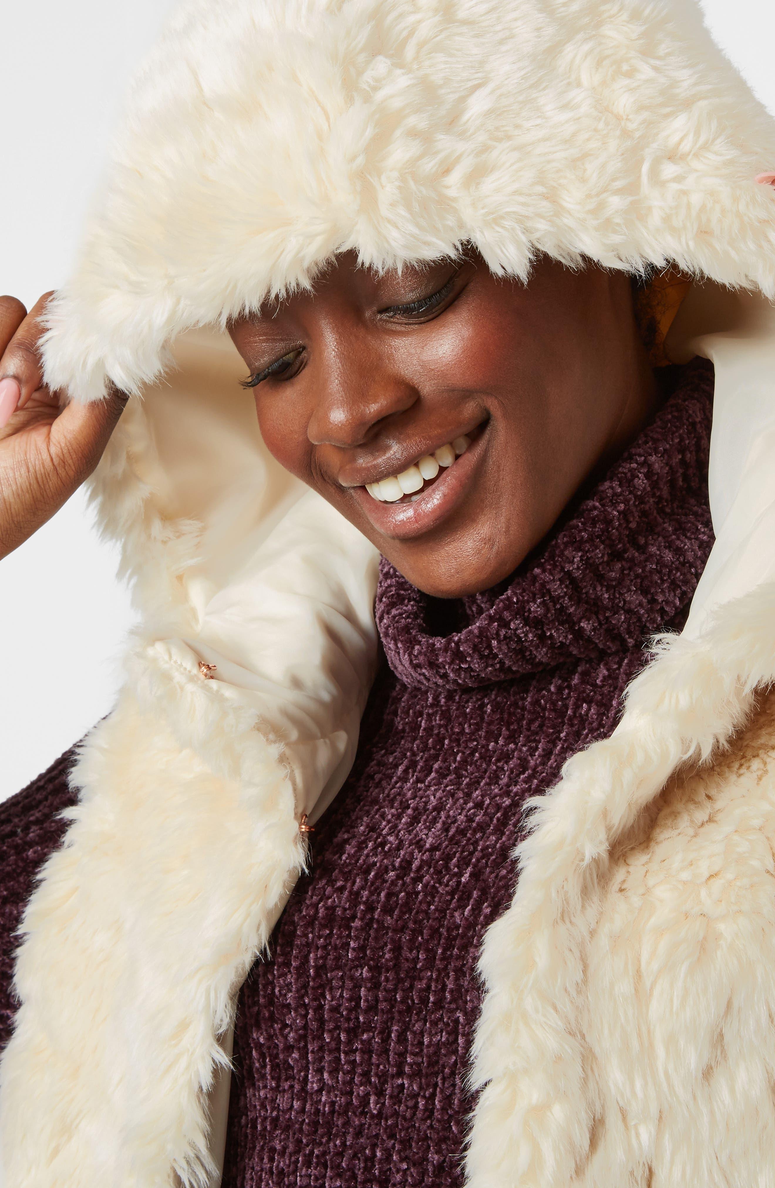 Faux Fur Hooded Vest,                             Alternate thumbnail 7, color,                             OATMEAL