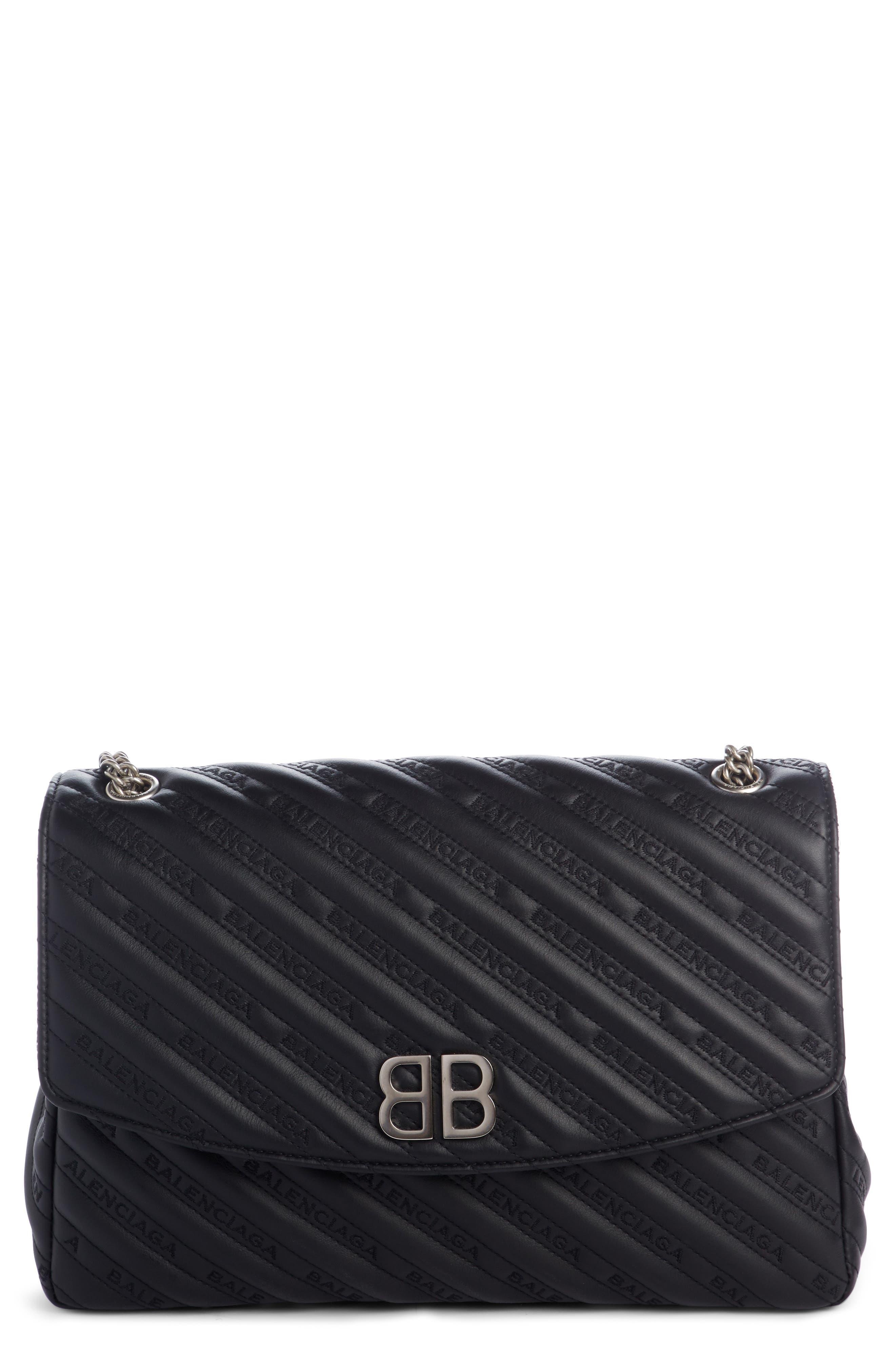 Matelassé Calfskin Leather Shoulder Bag,                             Main thumbnail 1, color,                             NOIR