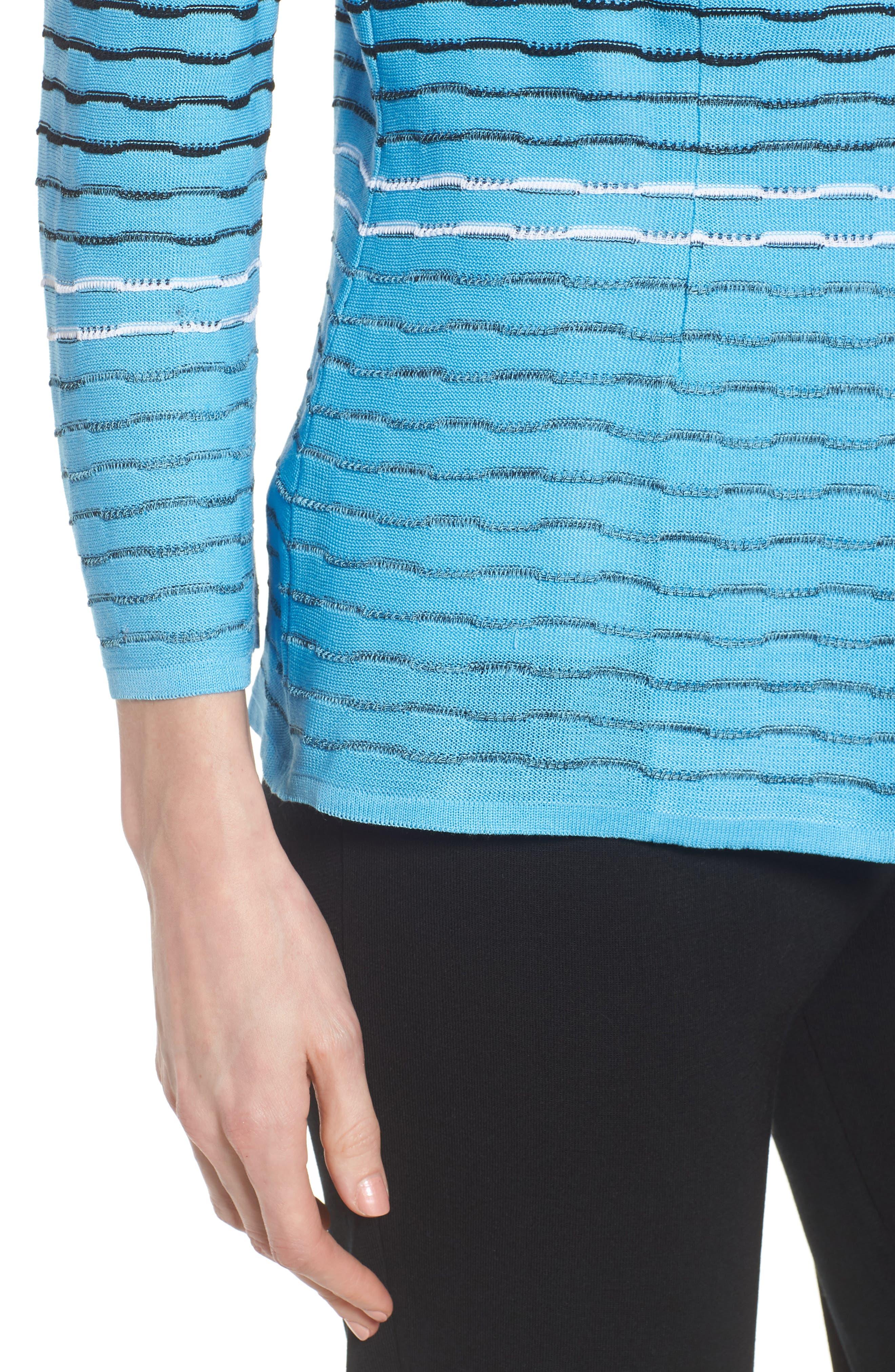 Jacquard Knit Jacket,                             Alternate thumbnail 4, color,                             BLUEBONNET/ BLACK/ WHITE