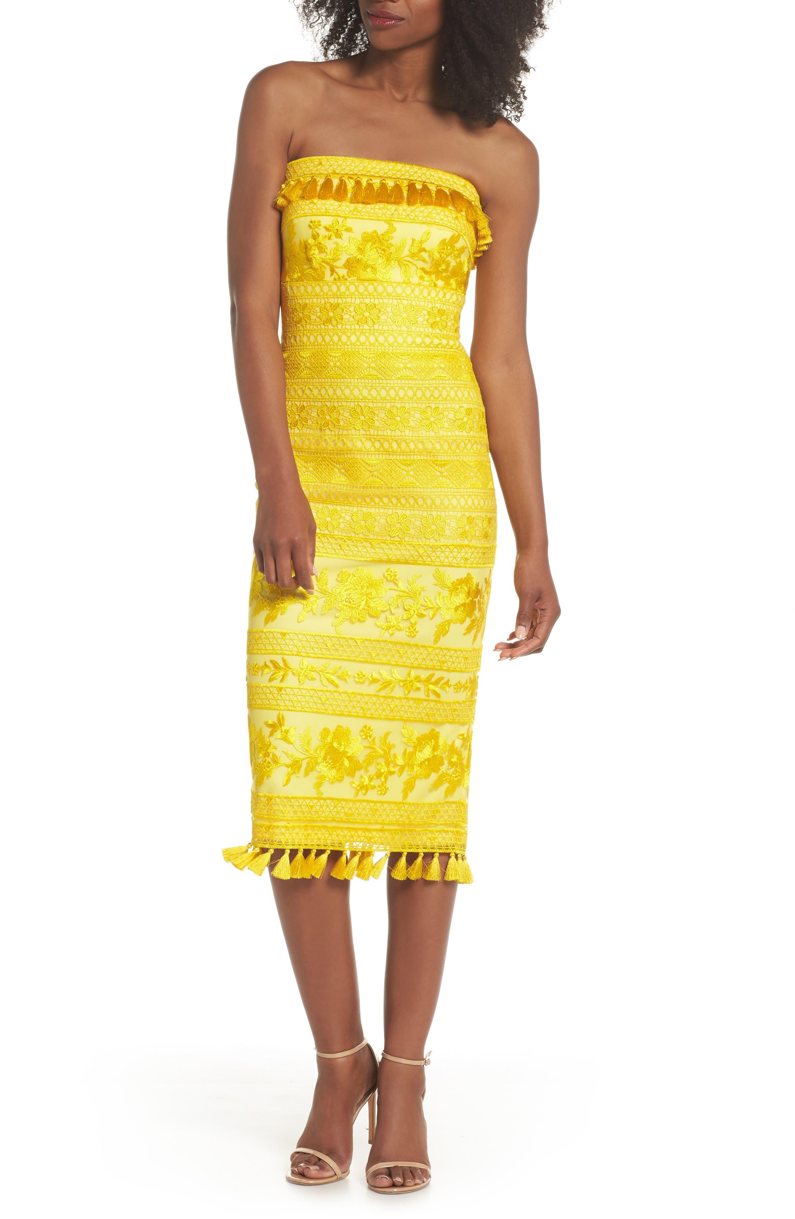 Tadashi Shoji Sol Strapless Lace Midi Dress, Yellow