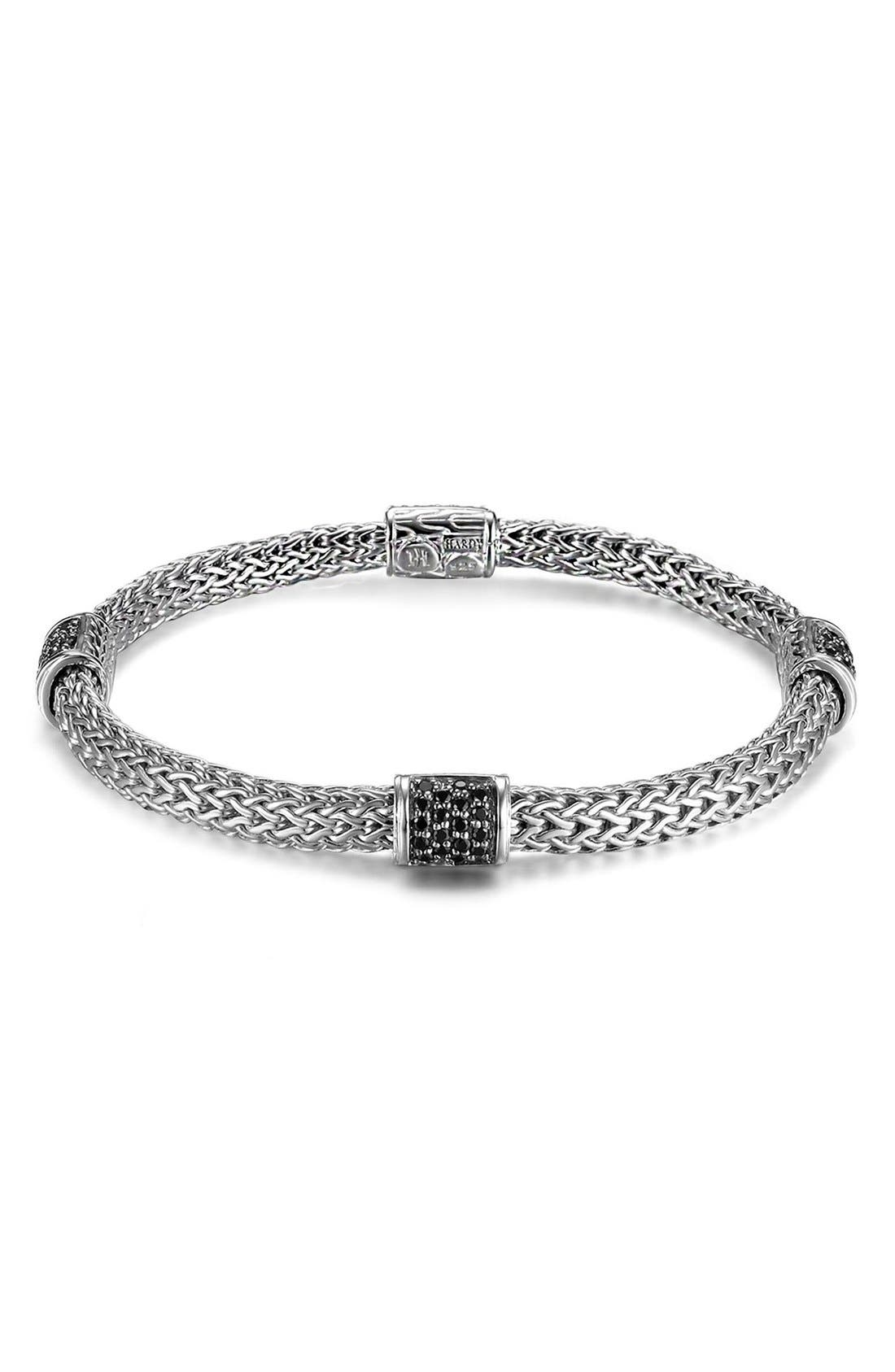 JOHN HARDY,                             'Classic Chain - Lava' Extra Small Braided Bracelet,                             Main thumbnail 1, color,                             SILVER/ BLACK SAPPHIRE