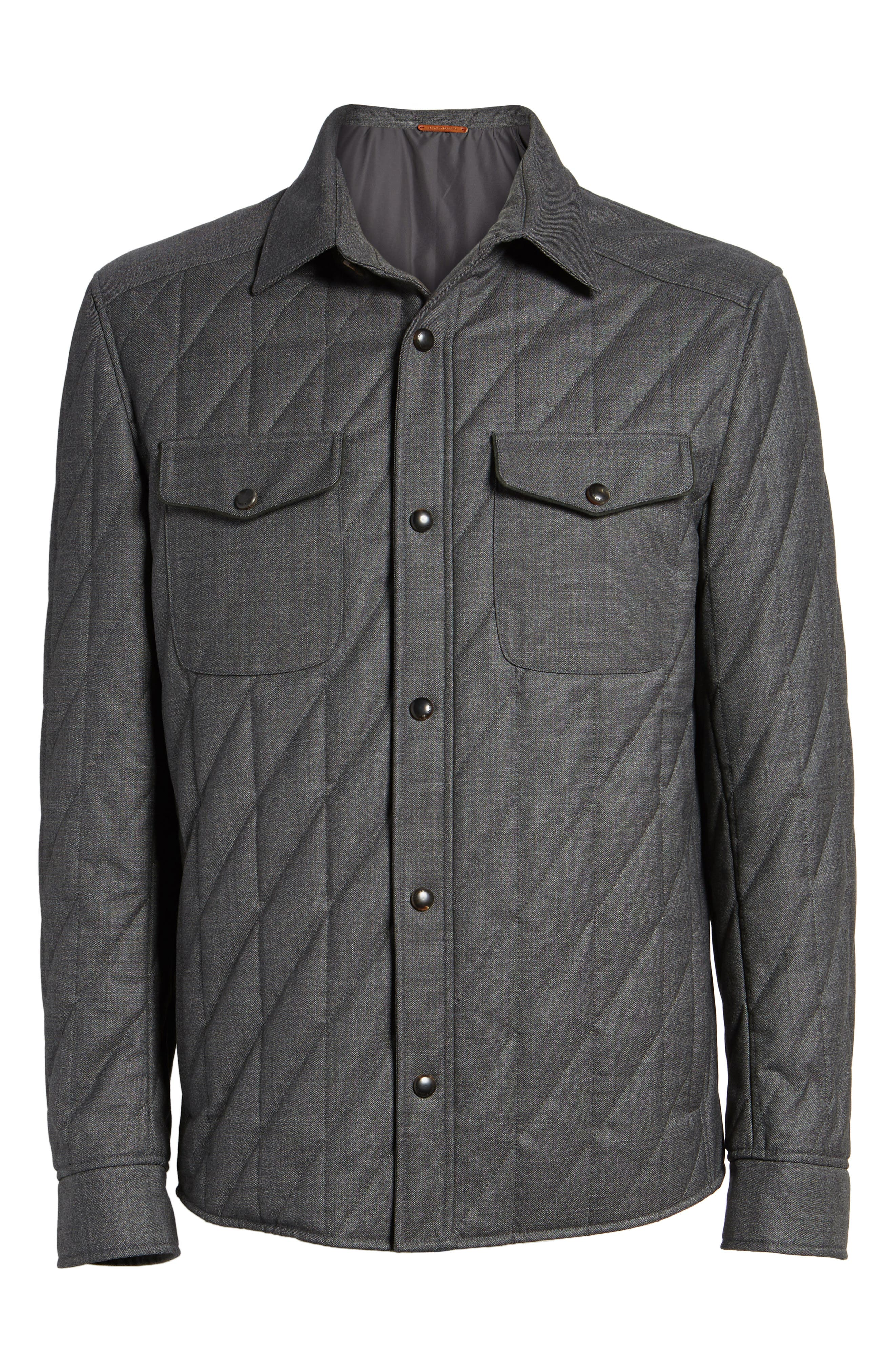 Classic Fit Quilted Wool Blend Shirt Jacket,                             Alternate thumbnail 5, color,                             031
