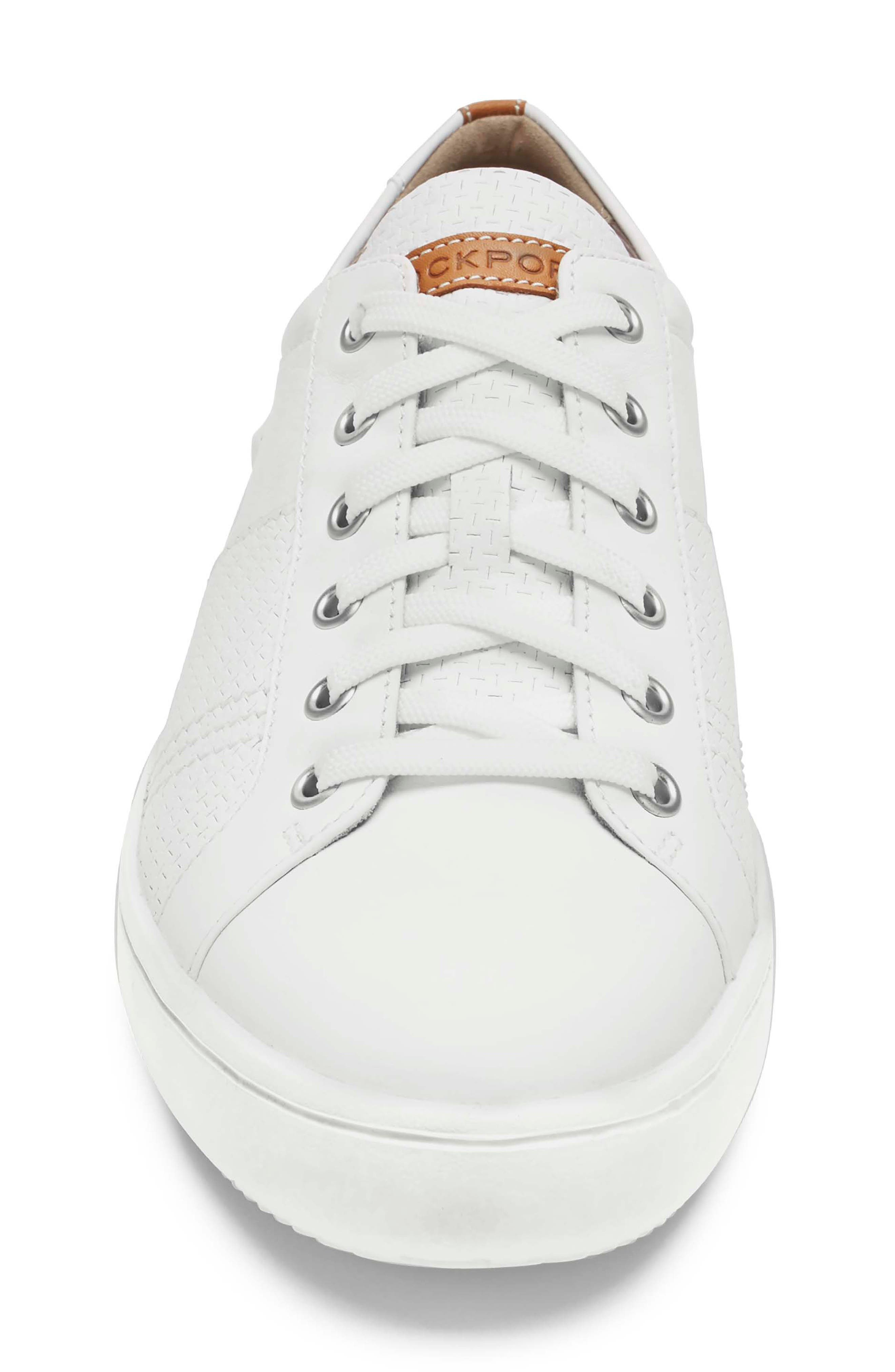 College Textured Sneaker,                             Alternate thumbnail 4, color,                             WHITE LEATHER