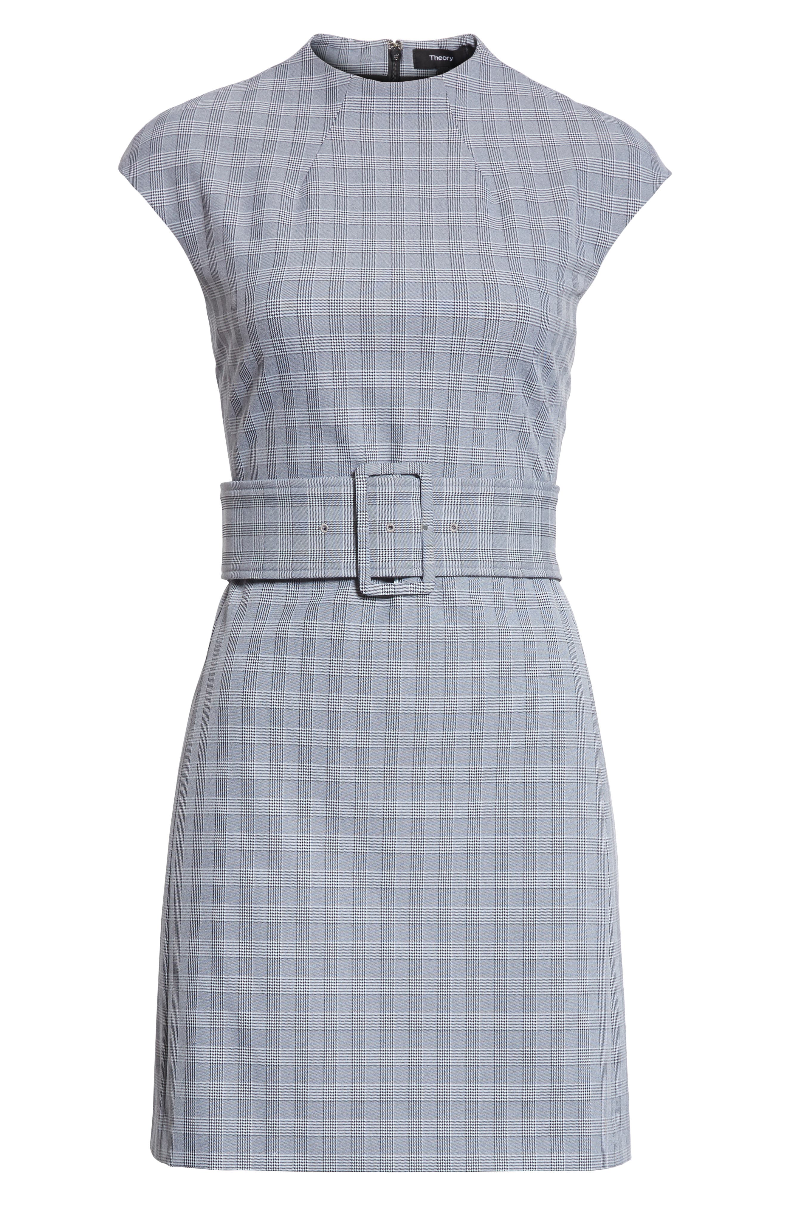 McClair Plaid Mod Belted Sheath Dress,                             Alternate thumbnail 7, color,                             009