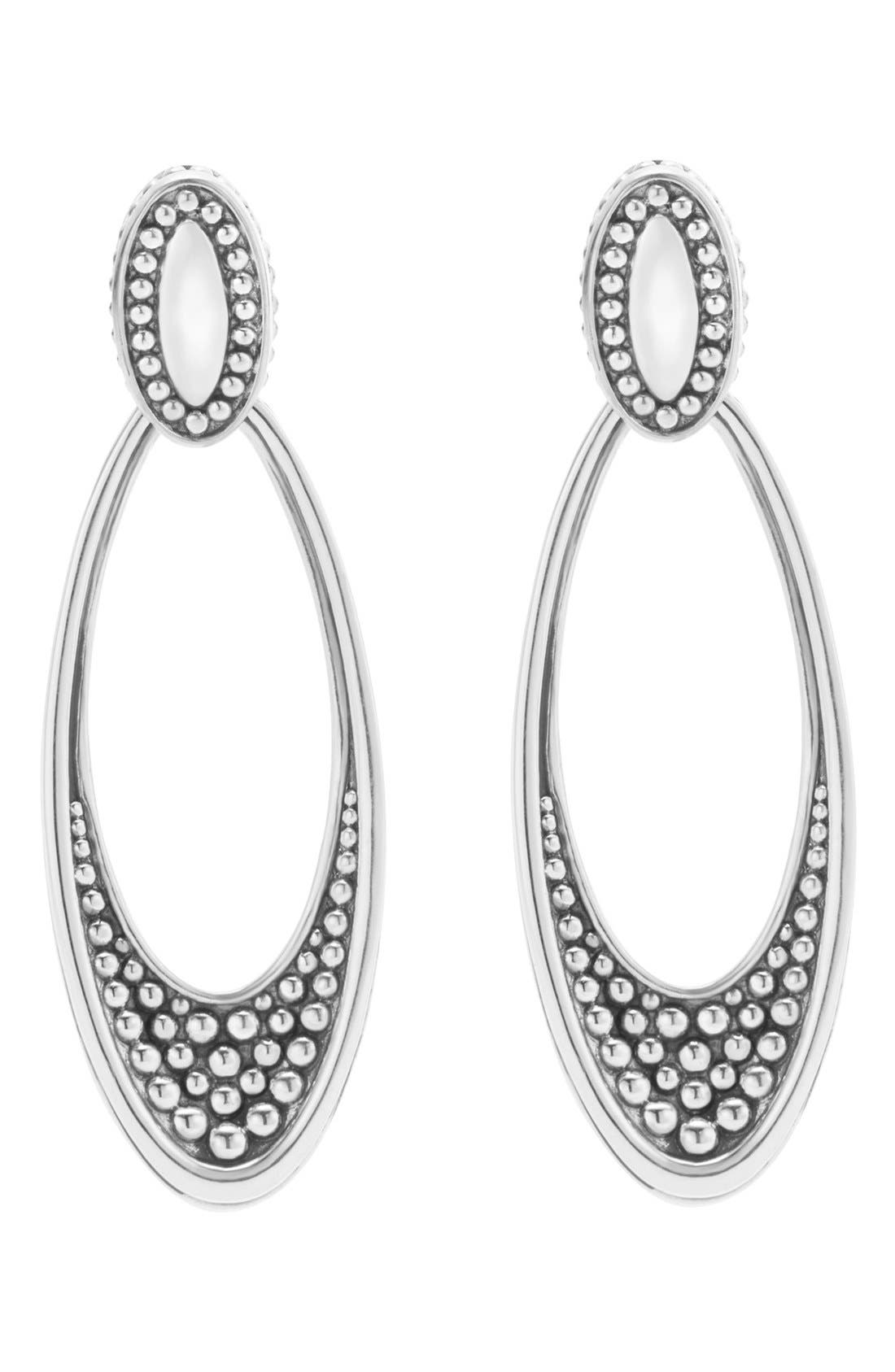 'Signature Caviar' Omega Drop Earrings,                             Main thumbnail 1, color,                             SILVER