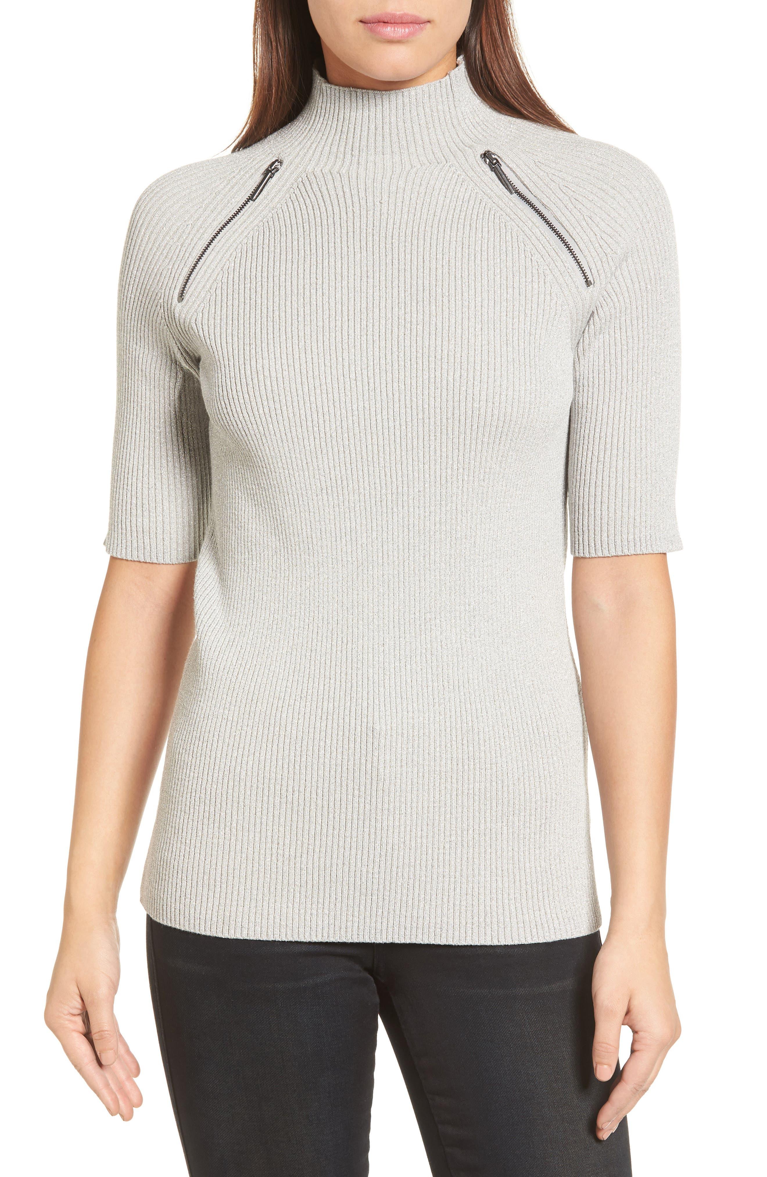 Elbow Sleeve Mock Neck Sweater,                             Main thumbnail 1, color,                             LIGHT GRAY