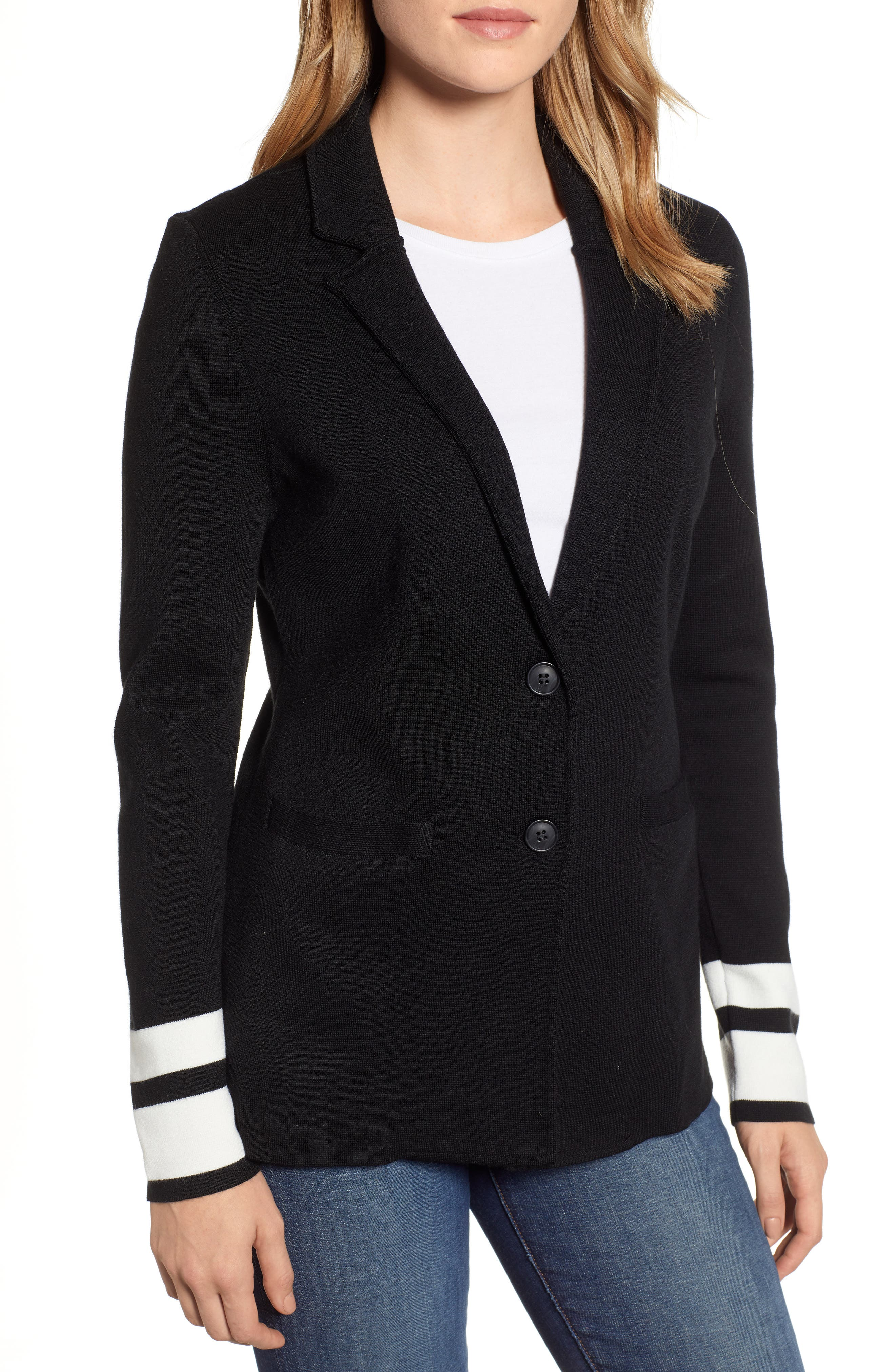 Stretch Wool Blend Sweater Blazer,                             Alternate thumbnail 4, color,                             BLACK- IVORY STRIPE
