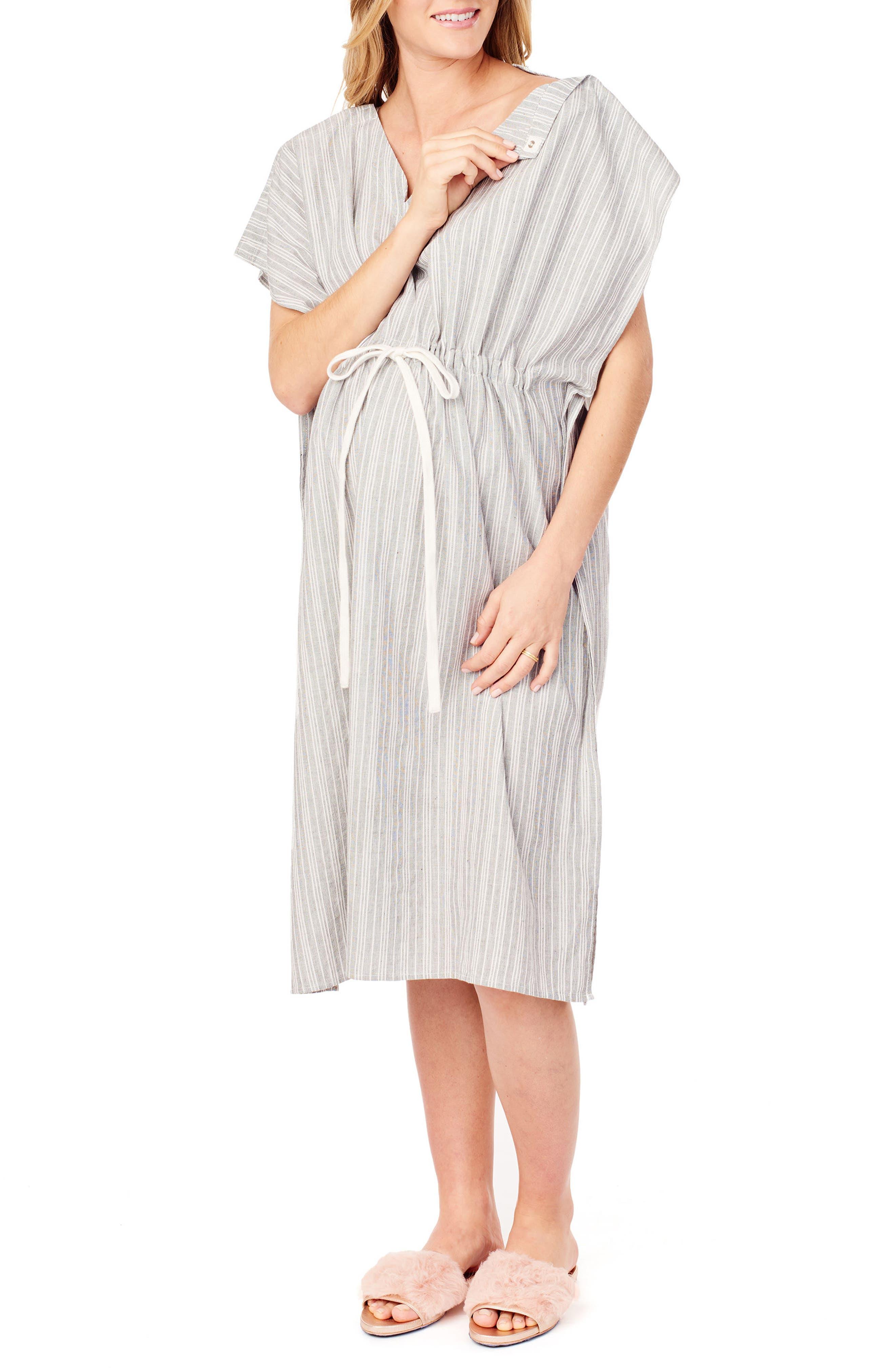 x James Fox & Co. Maternity/Nursing Hospital Gown,                             Alternate thumbnail 3, color,                             BLACK/ WHITE DOBBY STRIPE