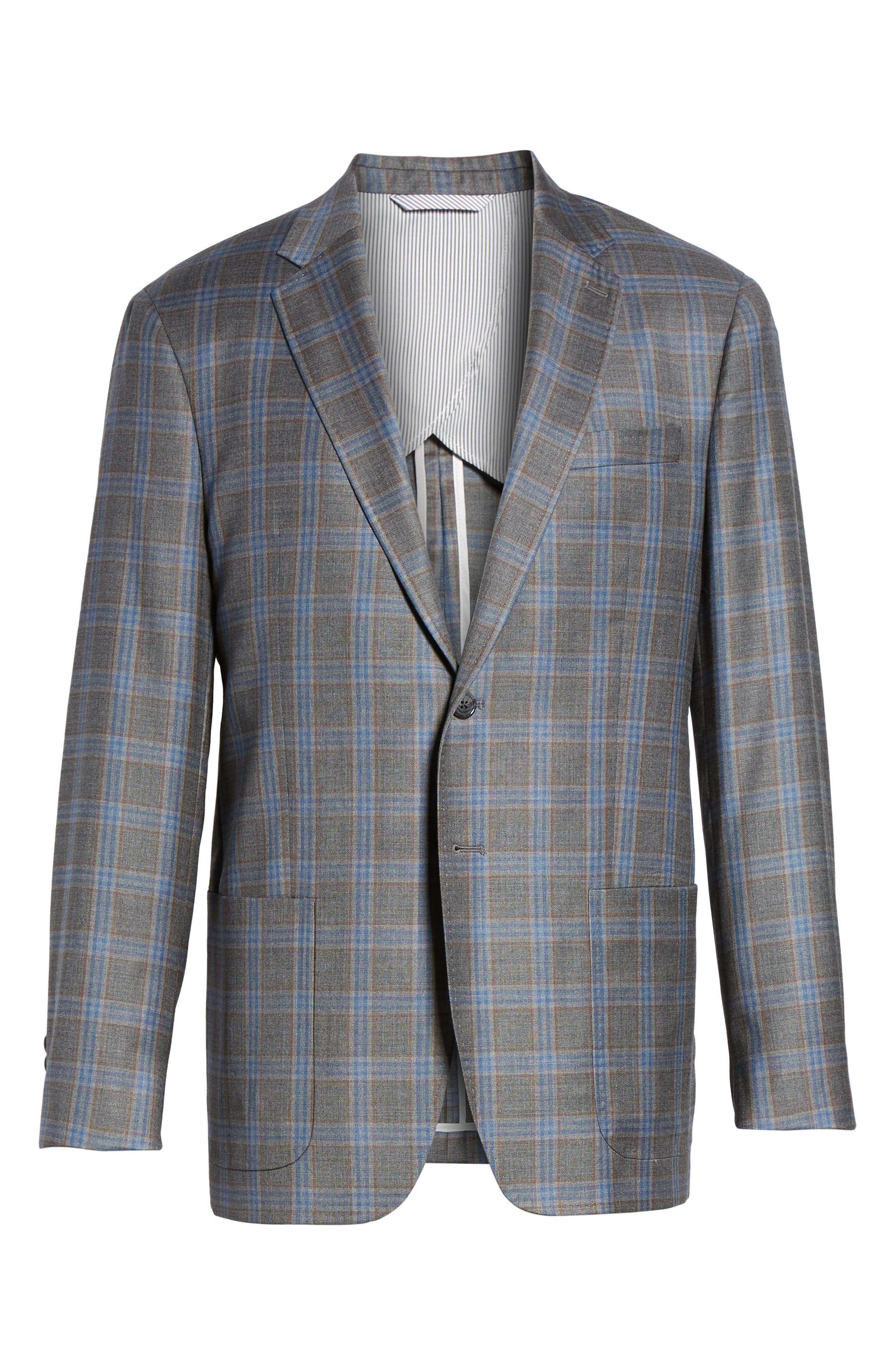 Plaid Wool Sport Coat,                             Alternate thumbnail 5, color,                             050