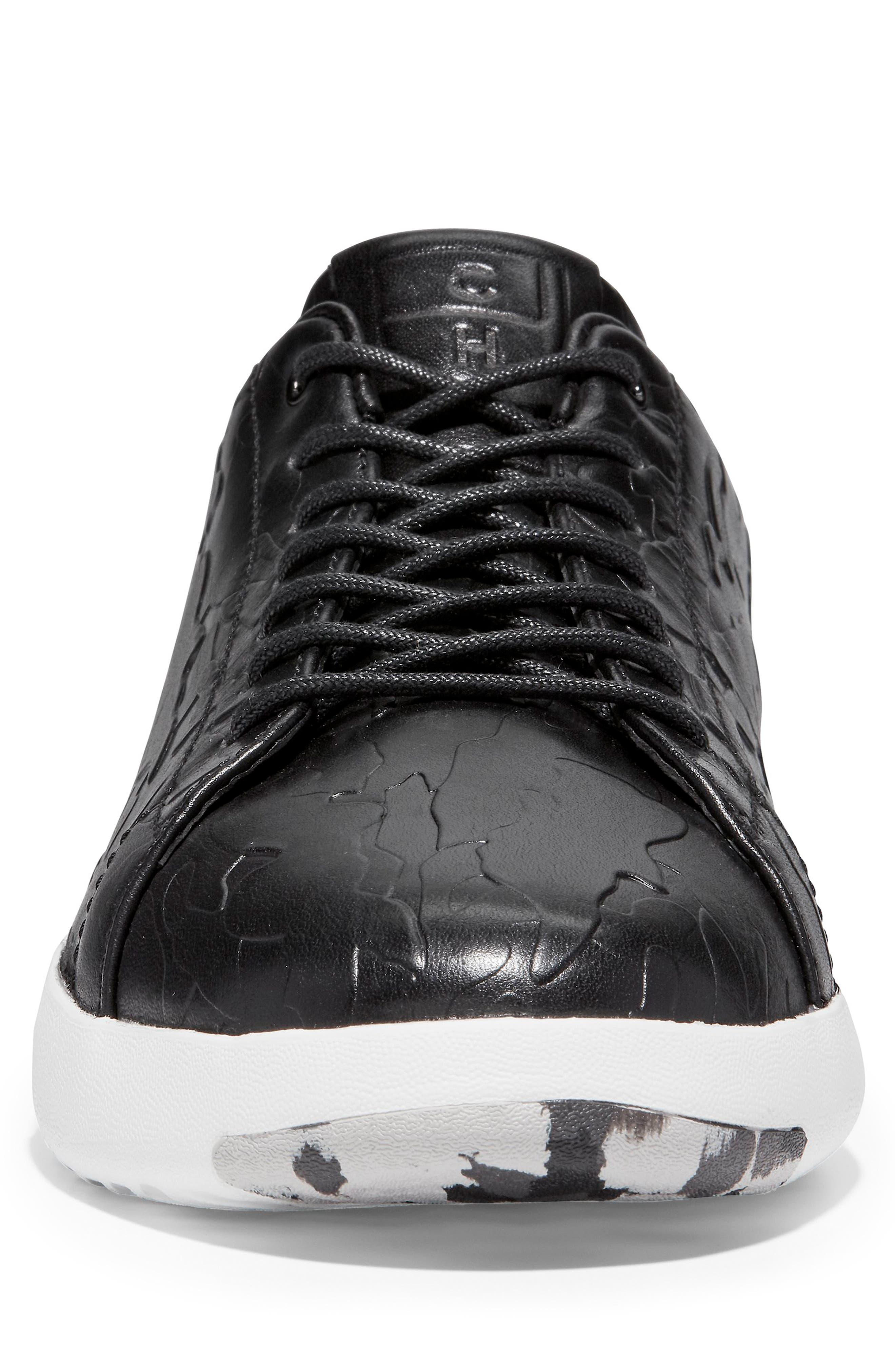 GrandPro Tennis Sneaker,                             Alternate thumbnail 4, color,                             BLACK/ CAMO LEATHER