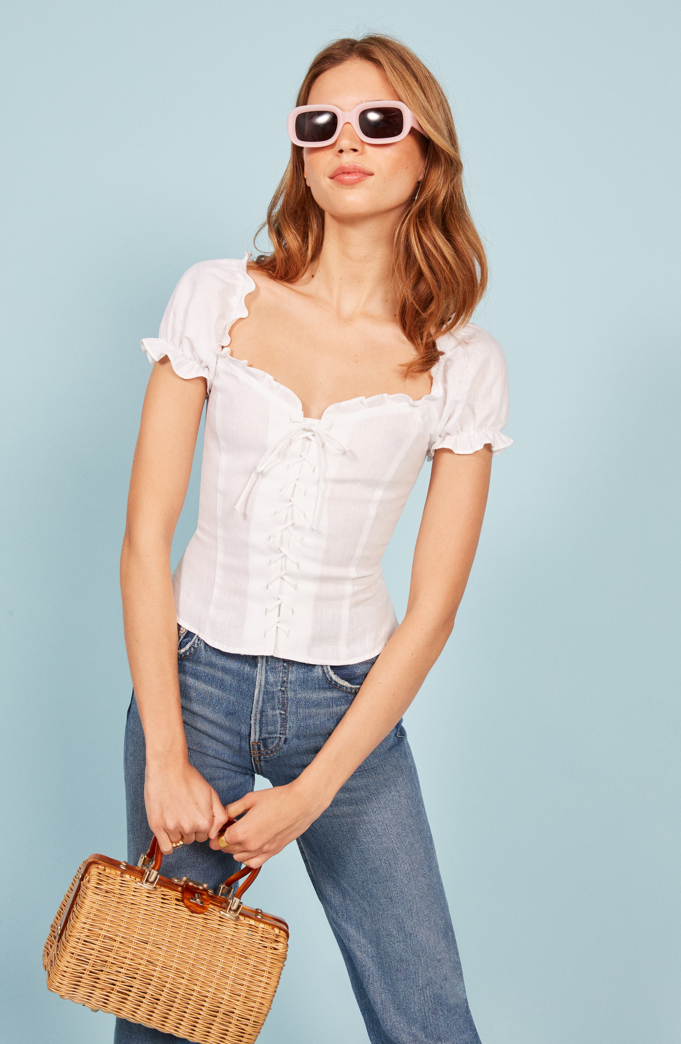 REFORMATION,                             Cassidy Corset Top,                             Alternate thumbnail 6, color,                             100
