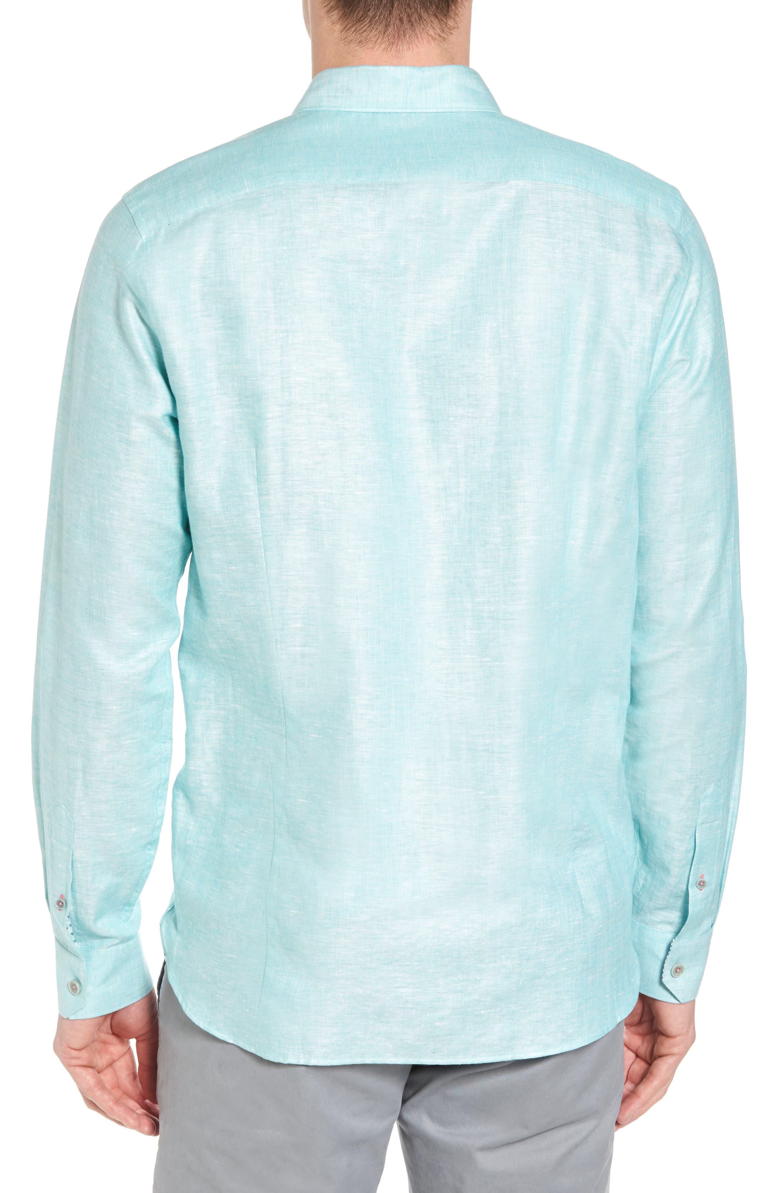 Linlins Herringbone Cotton & Linen Sport Shirt,                             Alternate thumbnail 7, color,