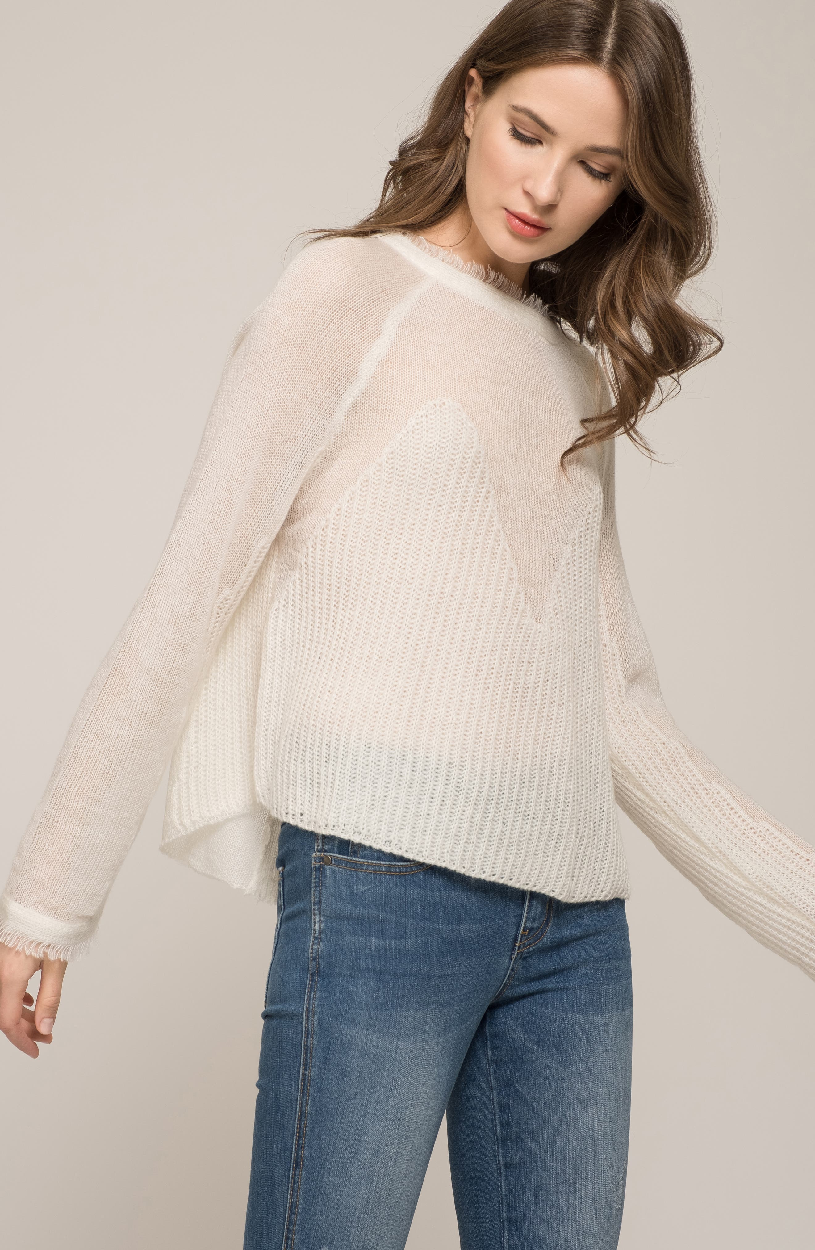 Fringed Sweater,                             Alternate thumbnail 7, color,                             IVORY
