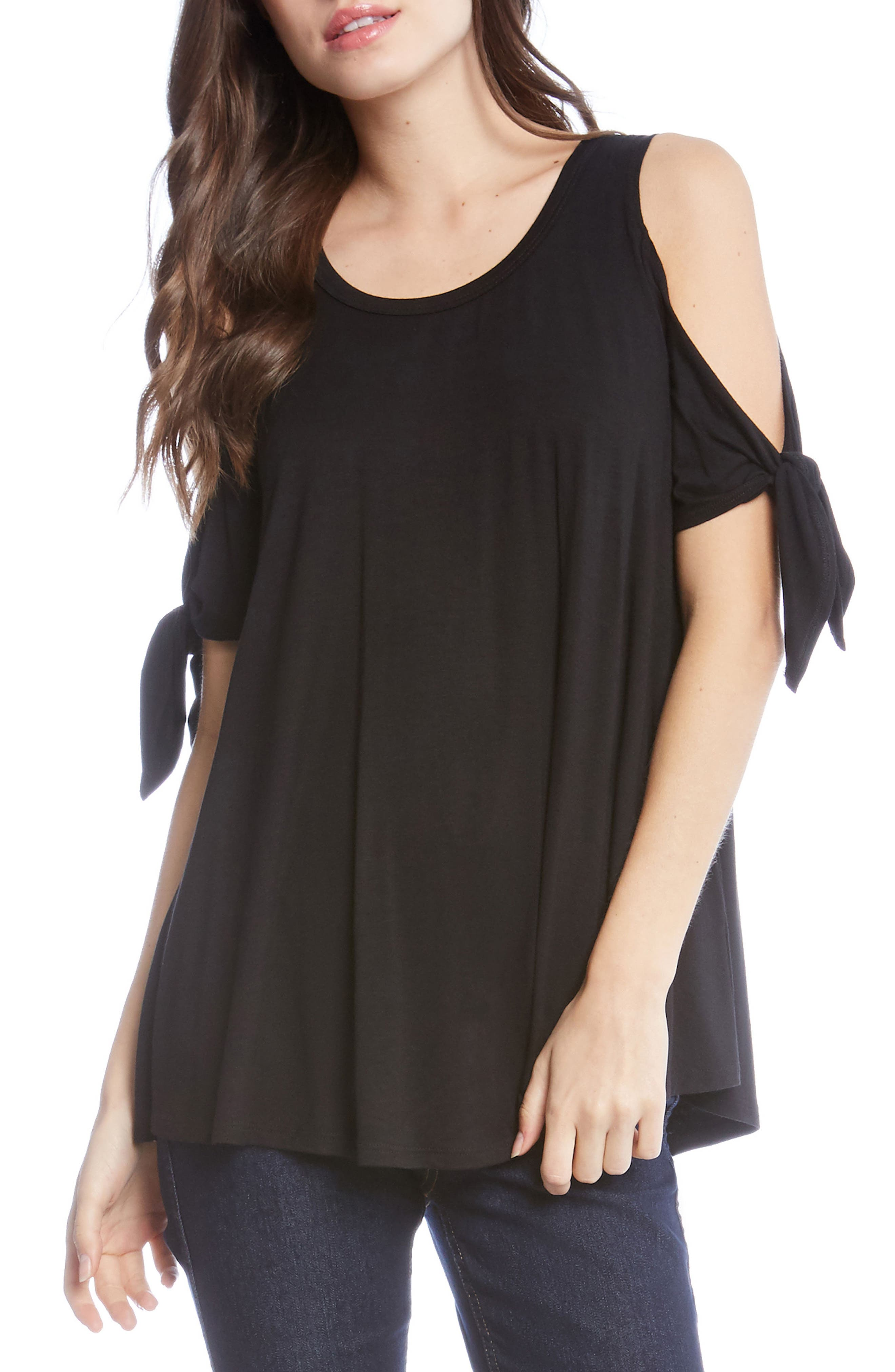 Cold Shoulder Tie Sleeve Top,                             Main thumbnail 1, color,                             001