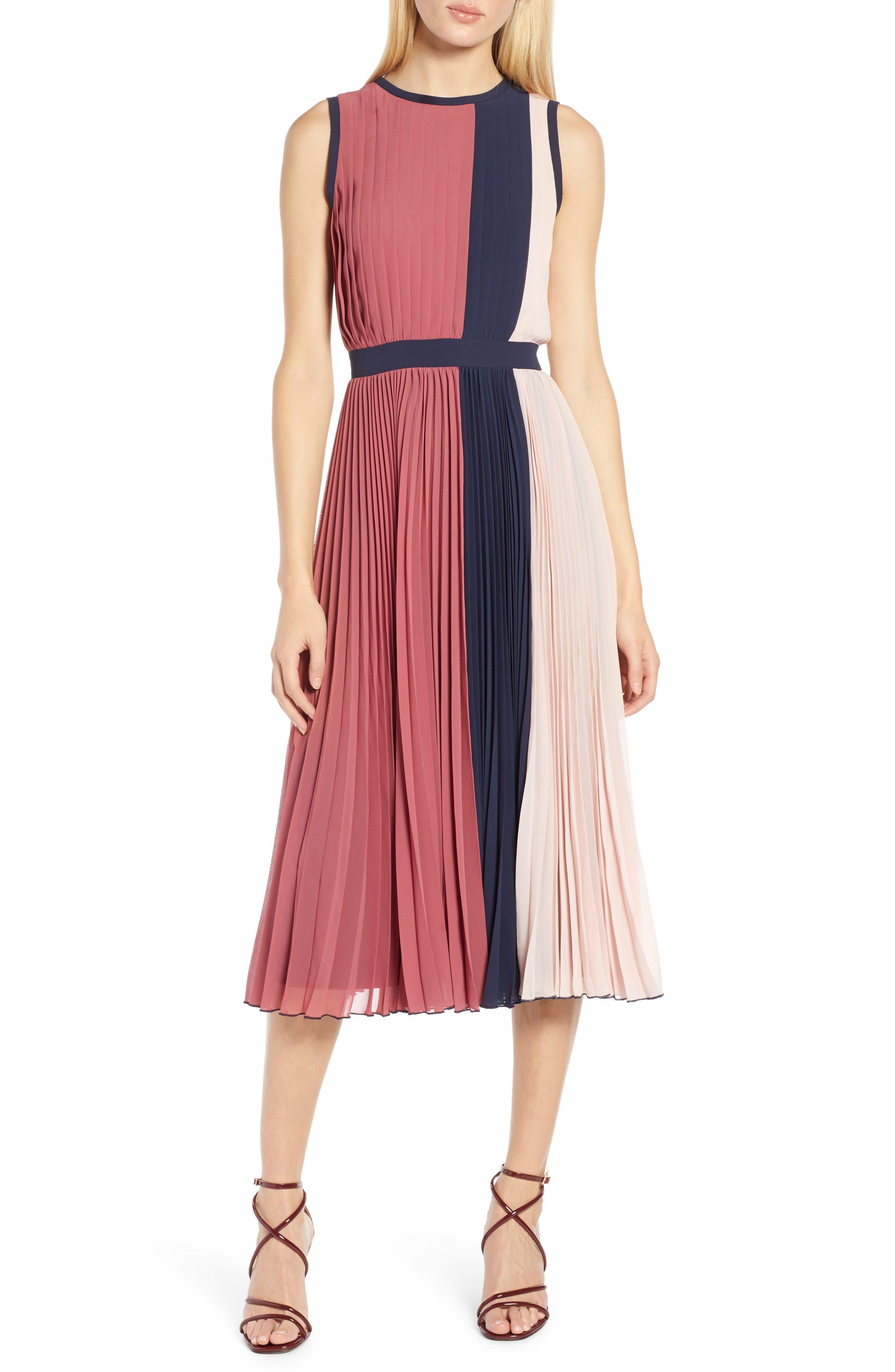 x Atlantic-Pacific Colorblock Pleated Midi Dress,                         Main,                         color, PINK- NAVY COLORBLOCK