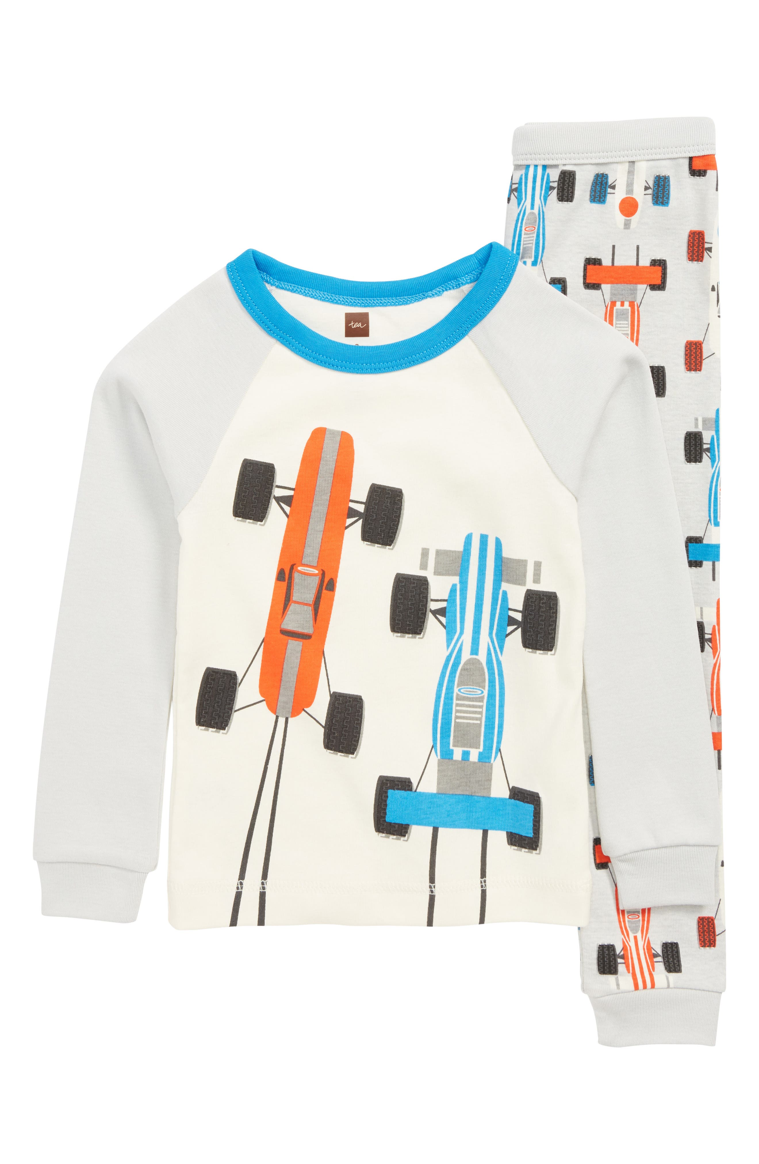 Racecar Print Fitted Two-Piece Pajamas,                             Main thumbnail 1, color,                             RACE CAR SCRAMBLE