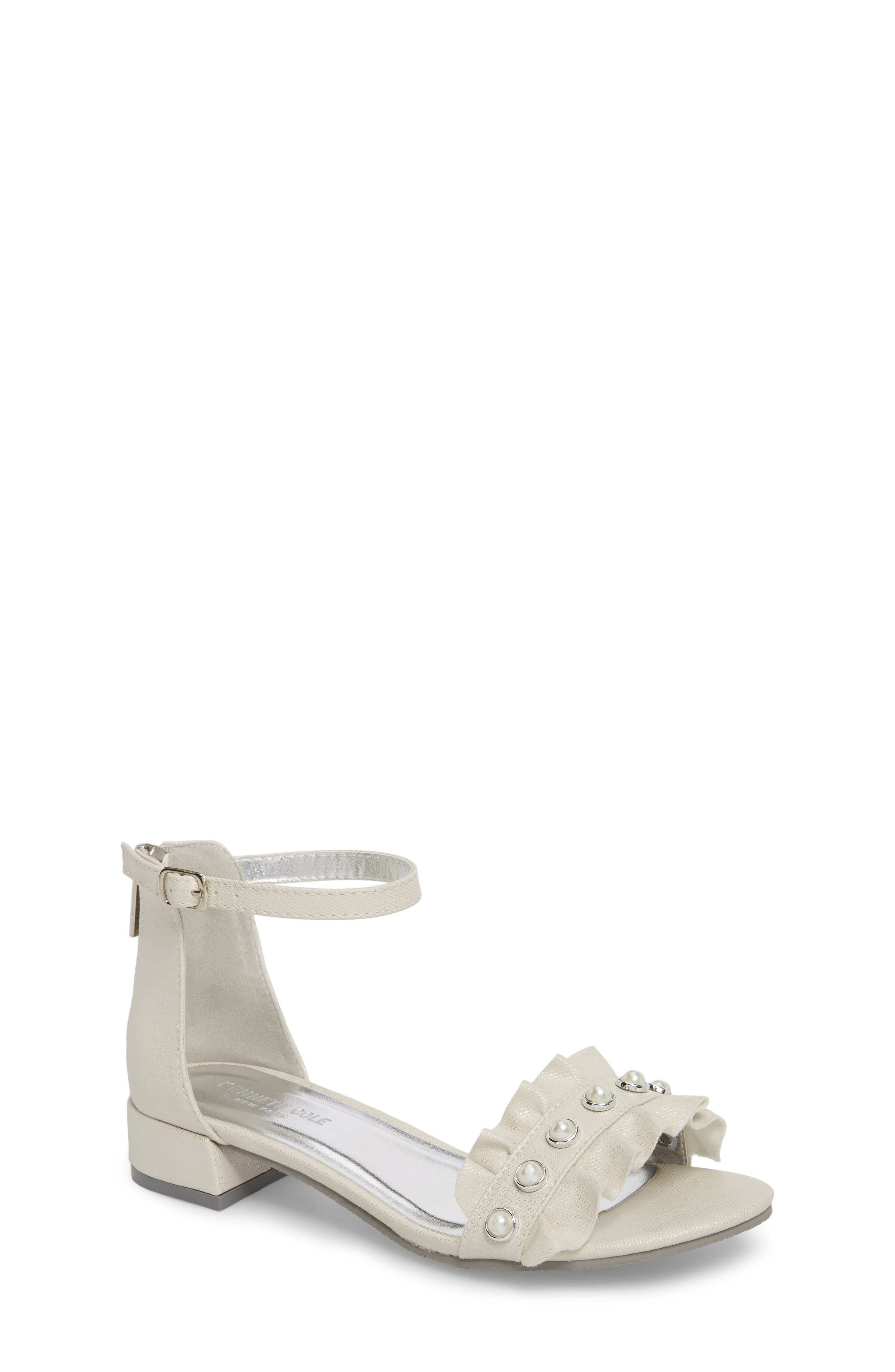 Reaction Kenneth Cole Julie Ruffle Sandal,                         Main,                         color, WHITE