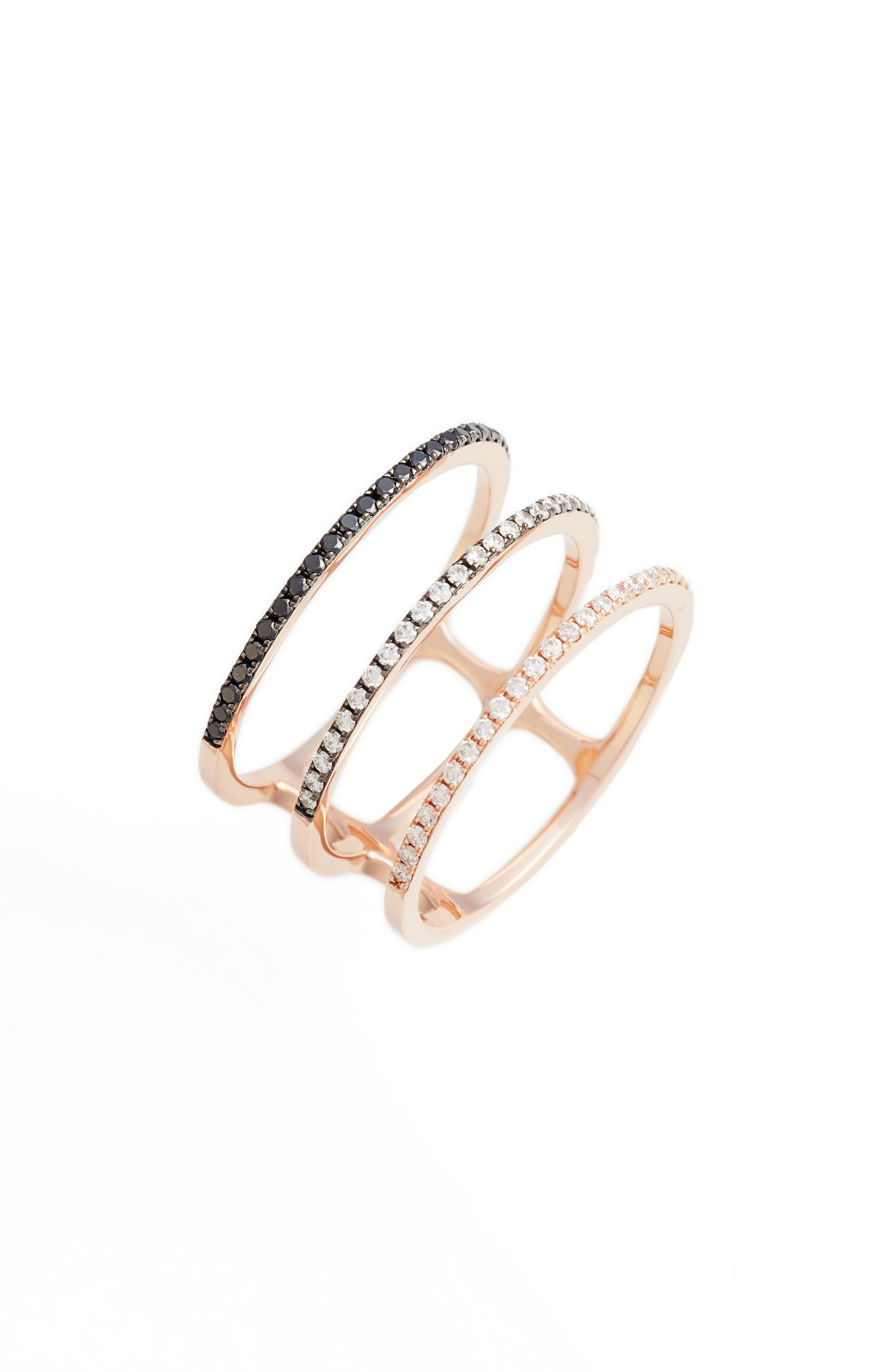 Diamond Triple Fade Stacking Ring,                             Main thumbnail 1, color,                             ROSE GOLD
