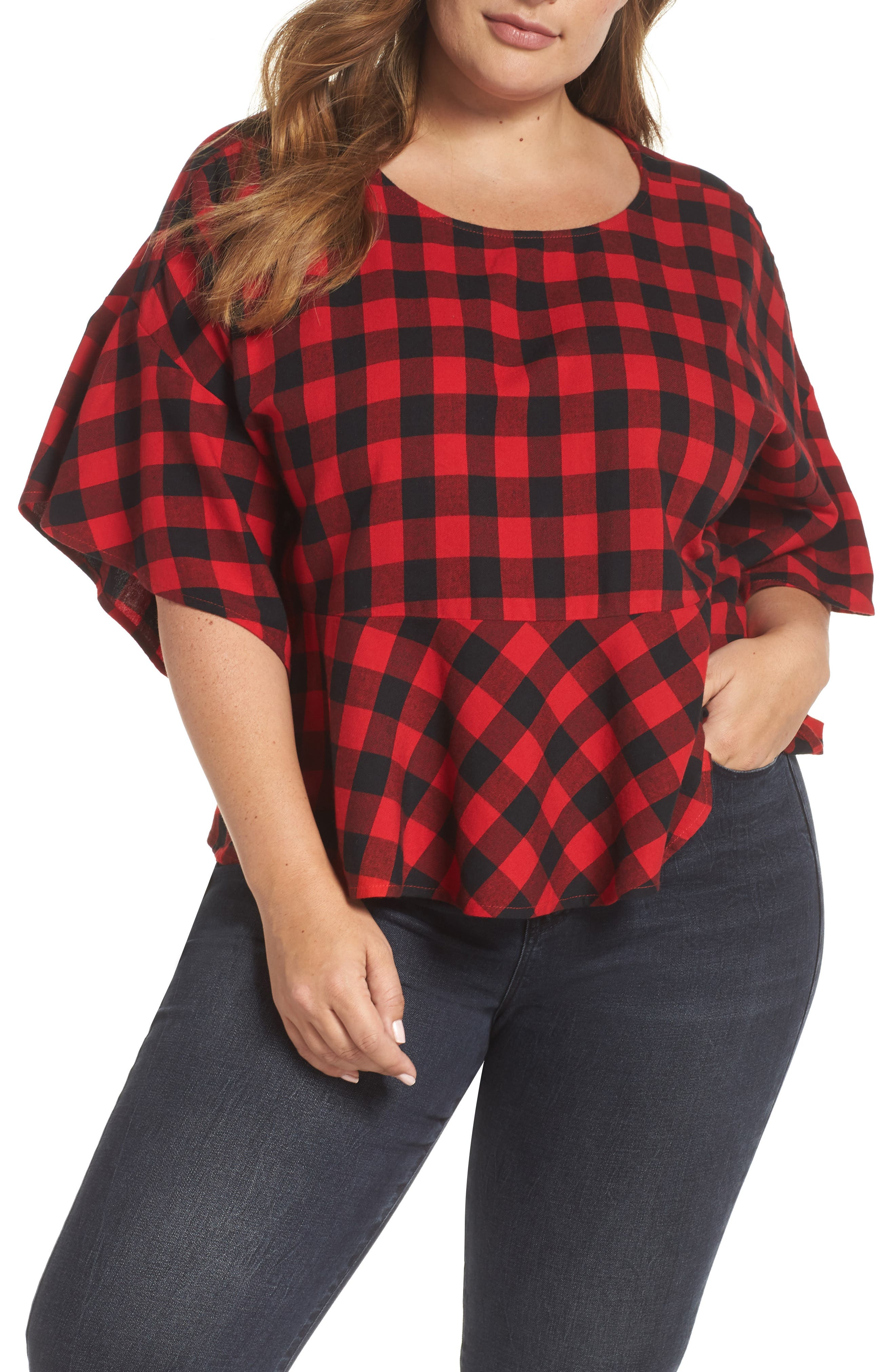 Plaid Peplum Top,                         Main,                         color, RED CHINOISE DARCY CHECK
