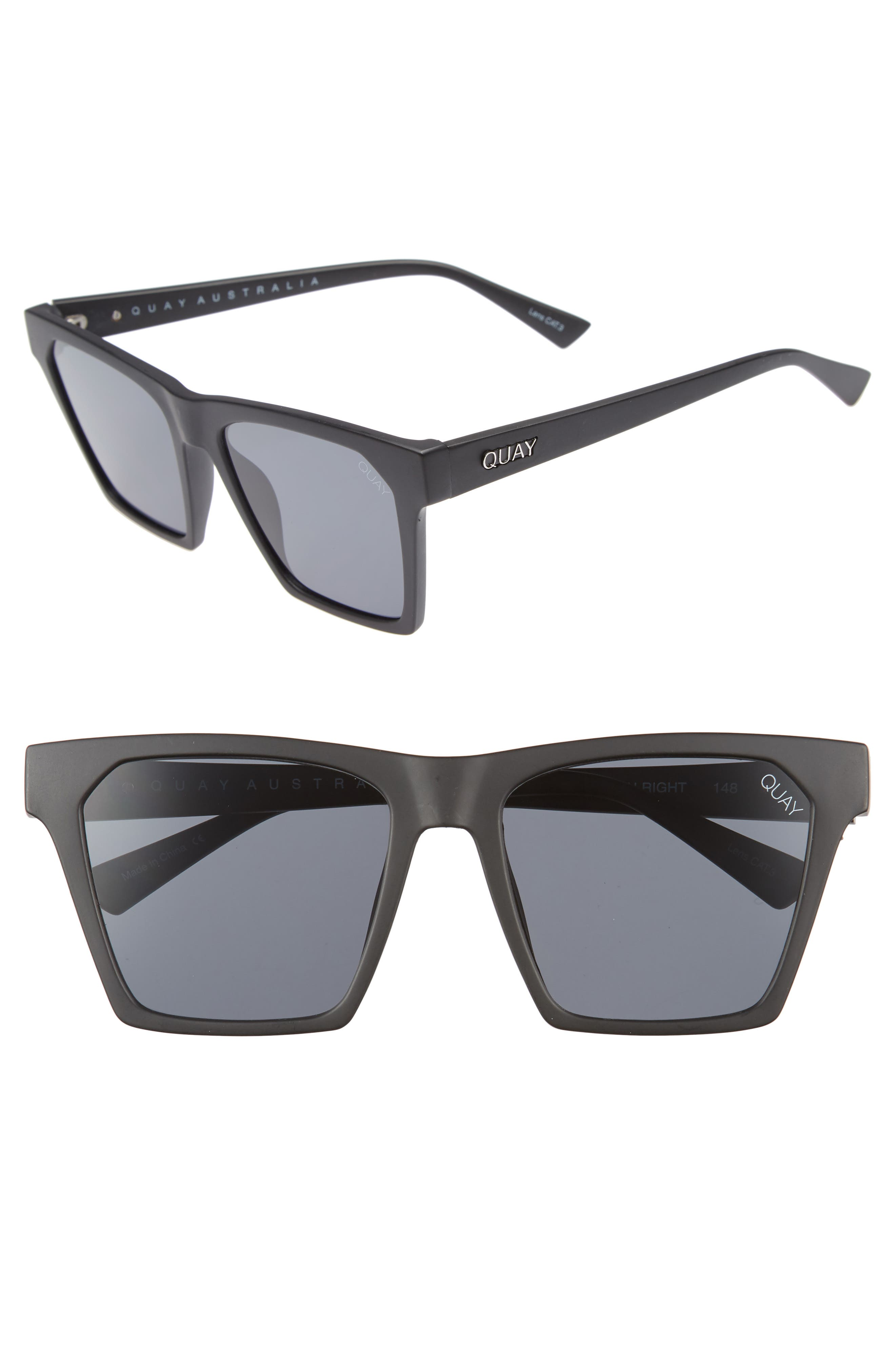 x Missguided Alright 55mm Square Sunglasses,                             Main thumbnail 1, color,                             001