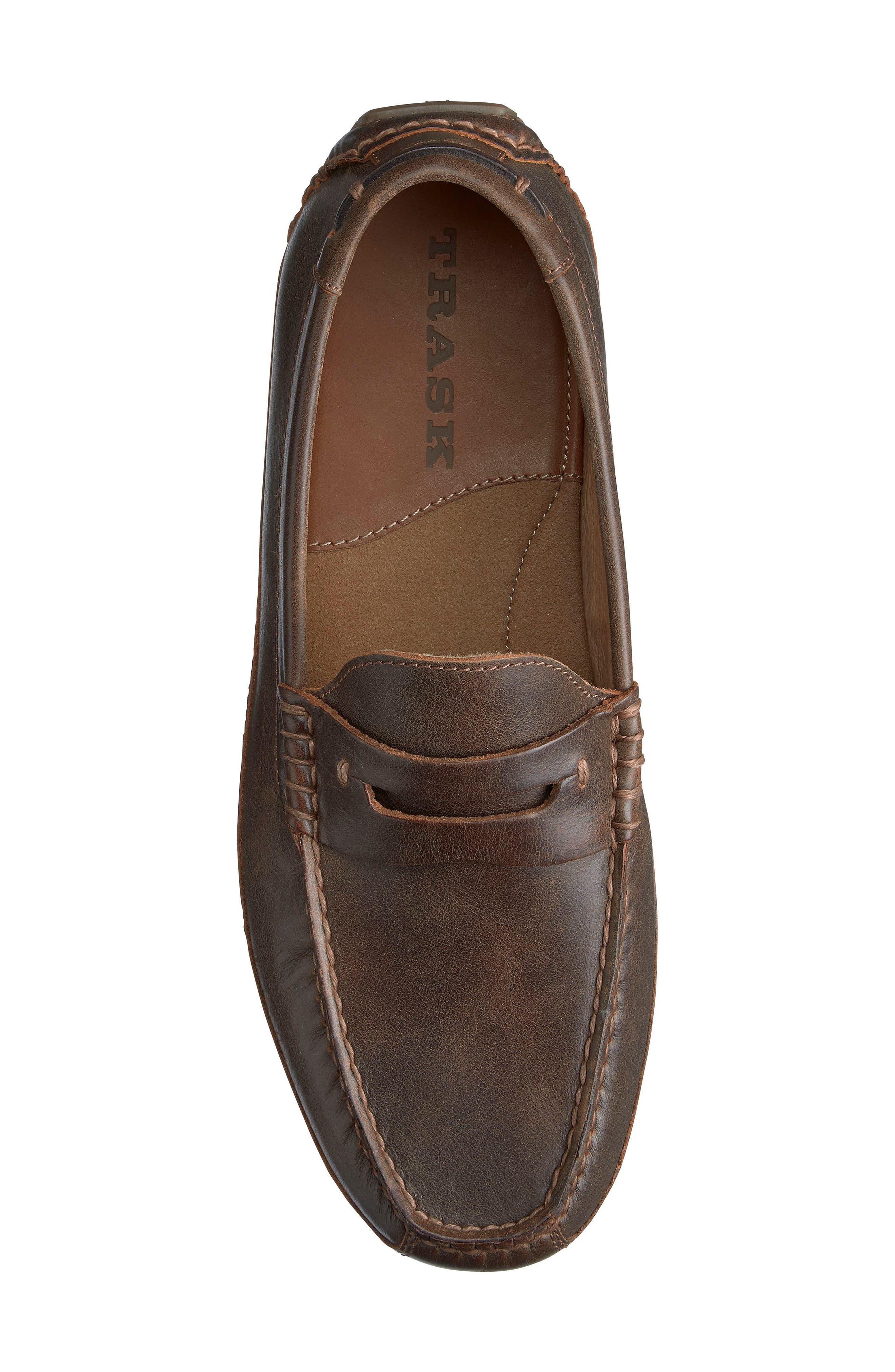 Dawson Water Resistant Driving Loafer,                             Alternate thumbnail 5, color,                             DARK BROWN LEATHER