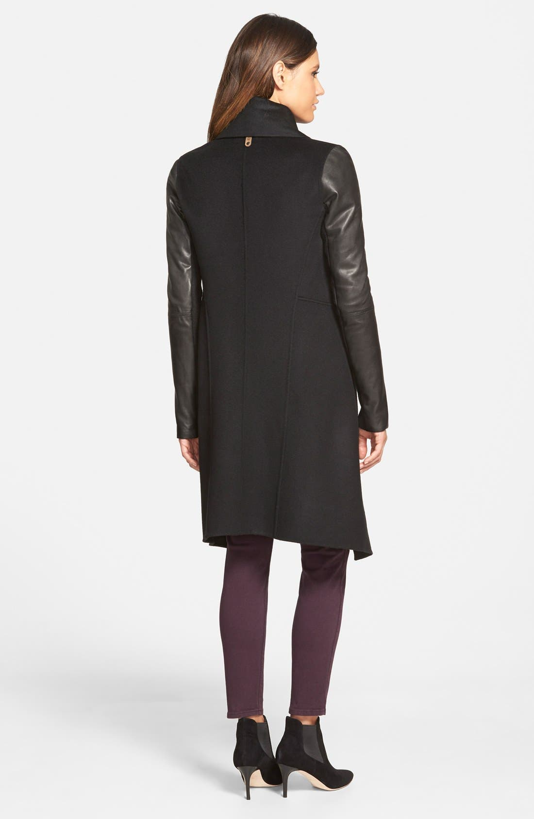 Wool Blend Coat with Leather Sleeves,                             Alternate thumbnail 3, color,                             001