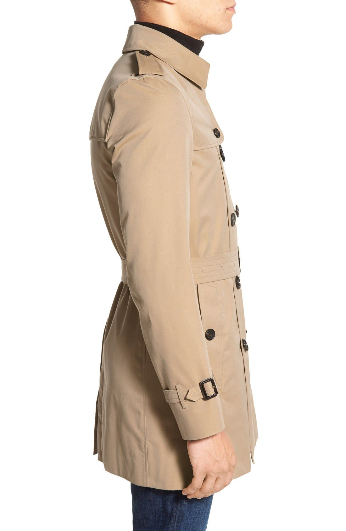 Kensington Double Breasted Trench Coat,                             Alternate thumbnail 4, color,                             HONEY