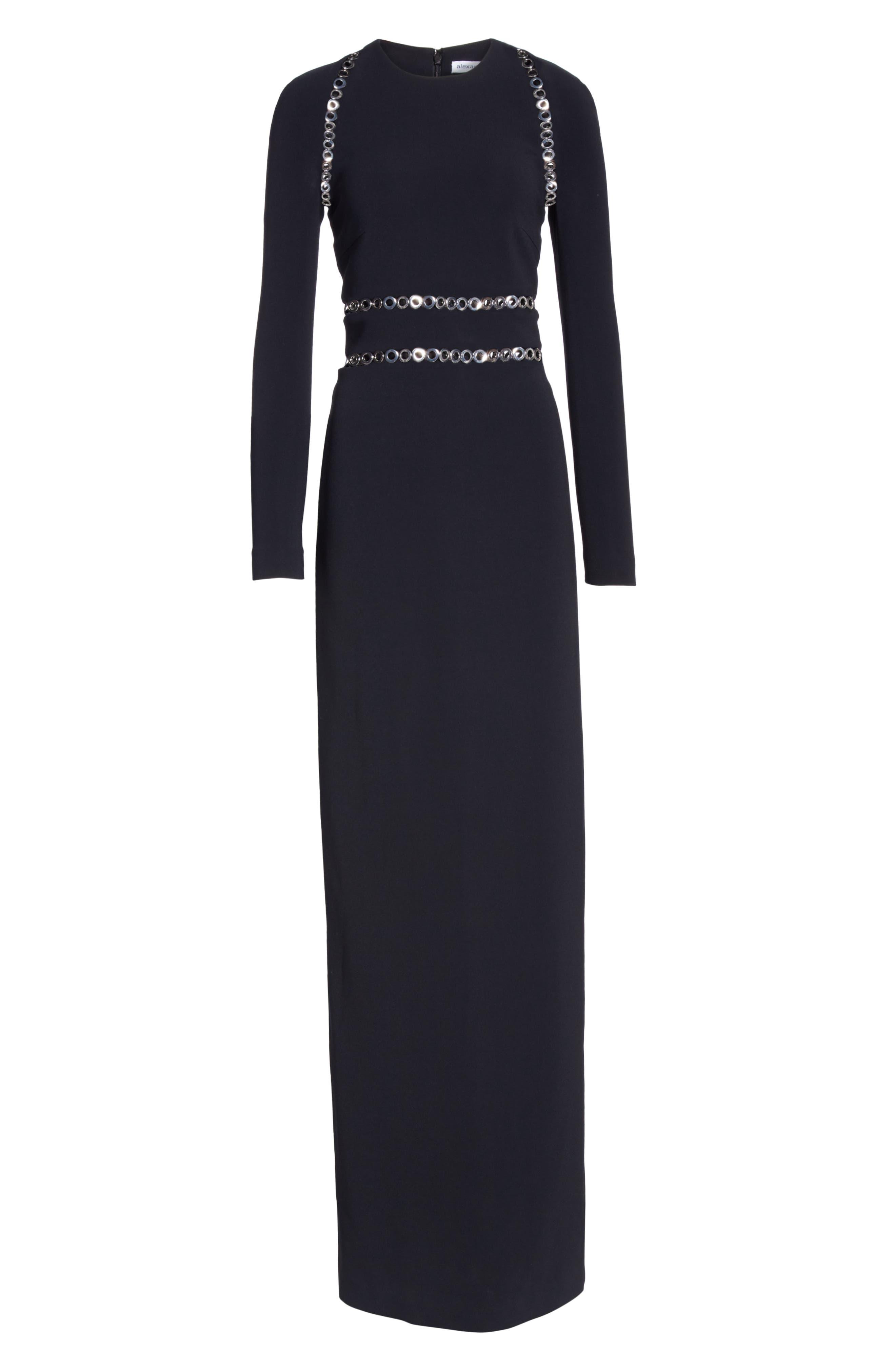 Grommet Trim Gown,                             Alternate thumbnail 6, color,                             BLACK