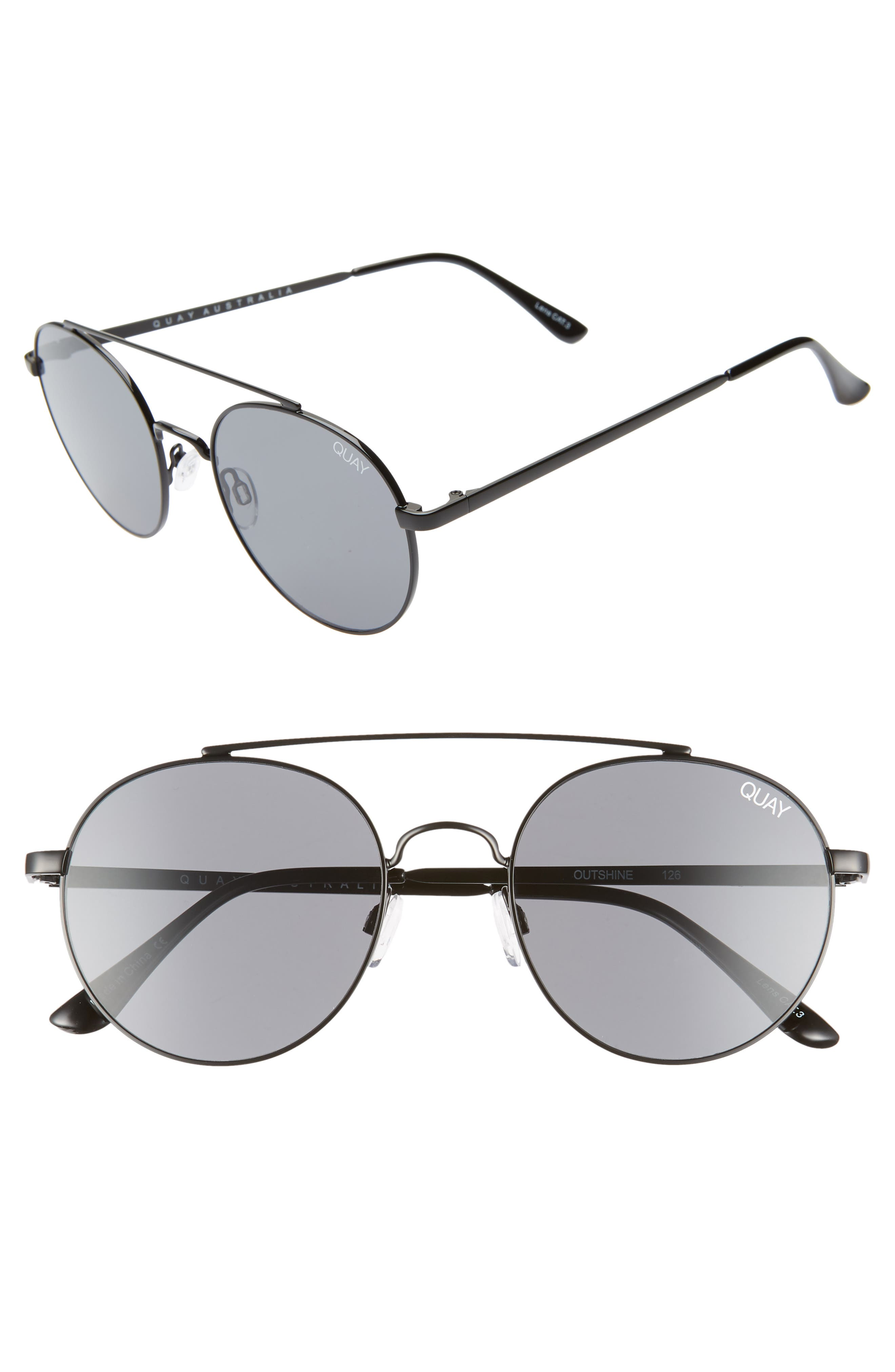Quay Australia Outshine 5m Round Sunglasses - Black / Smoke